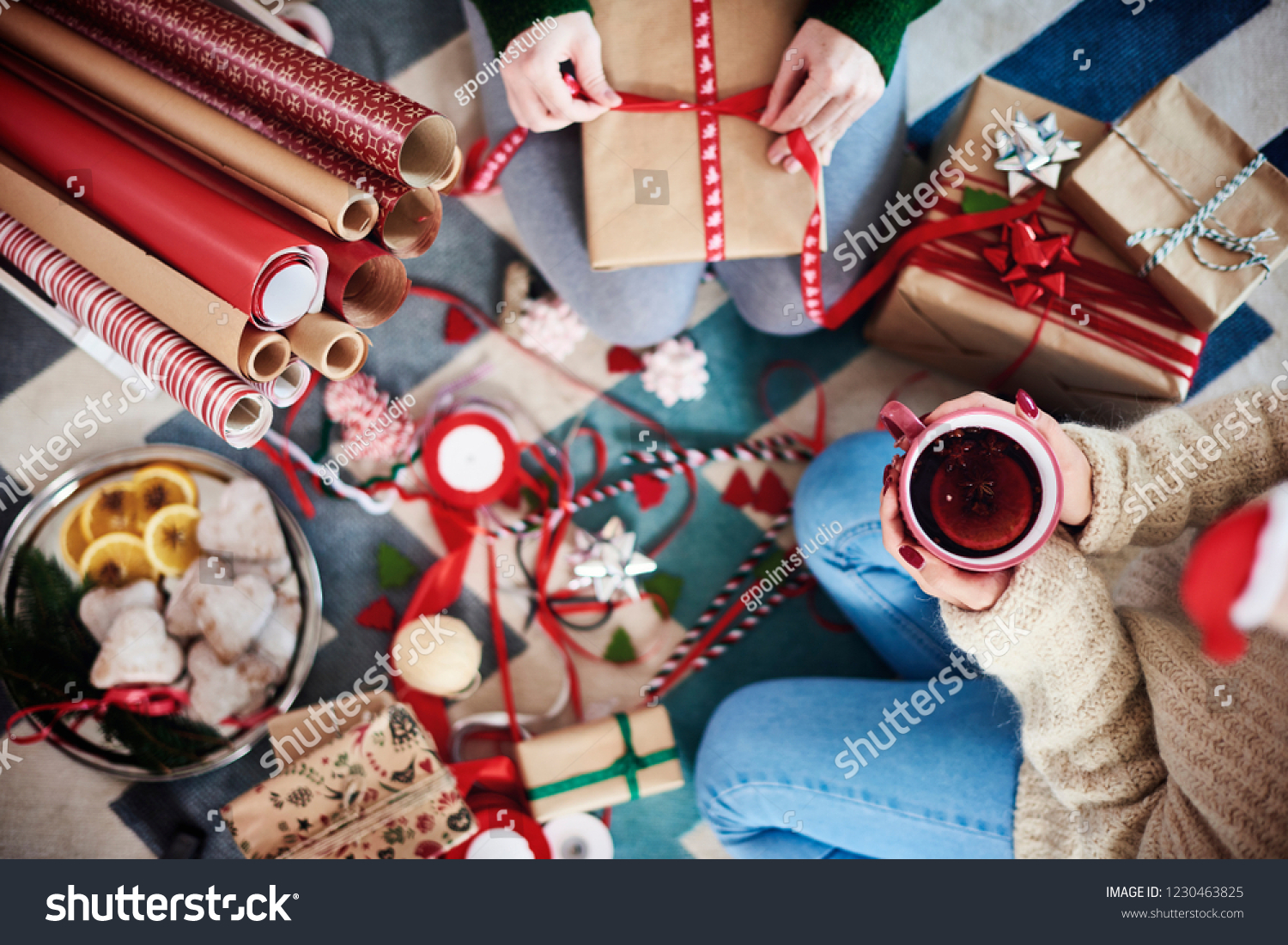 Happy Friends Preparing Christmas Presents Christmas Stock Photo