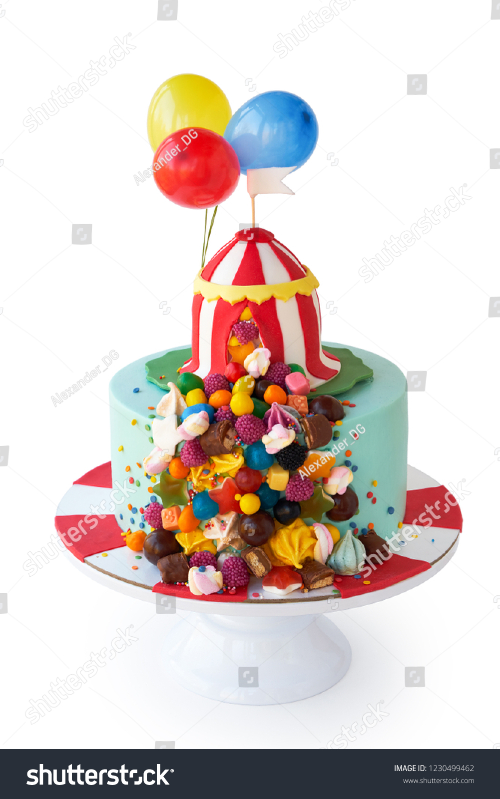 Magnificent Birthday Cake Decorated Circus Tent Colorful Stock Photo Edit Now Funny Birthday Cards Online Elaedamsfinfo