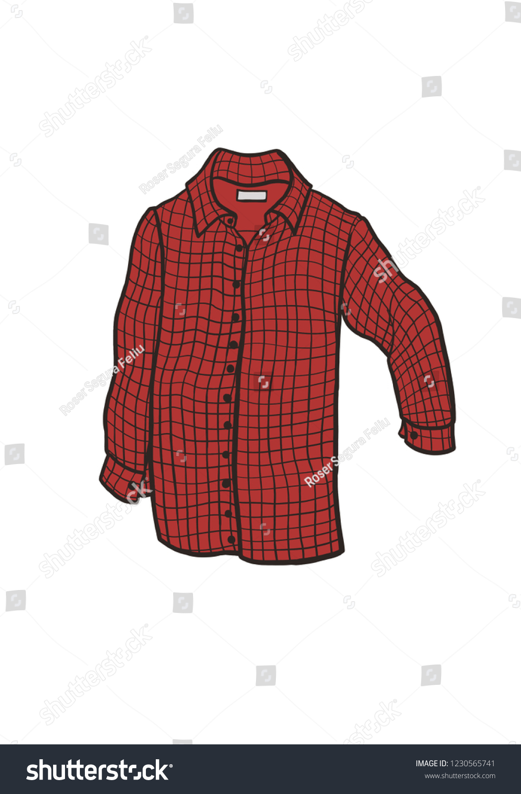 01bf8d3ab25 Checkered red shirt with long sleeve cartoon drawing. Man s casual  clothing