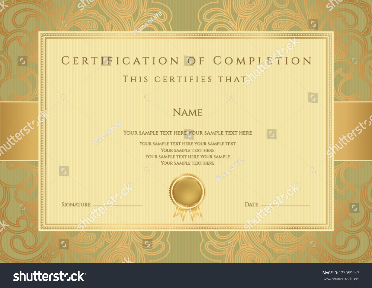 Horizontal Green Certificate Of Completion Template With ...