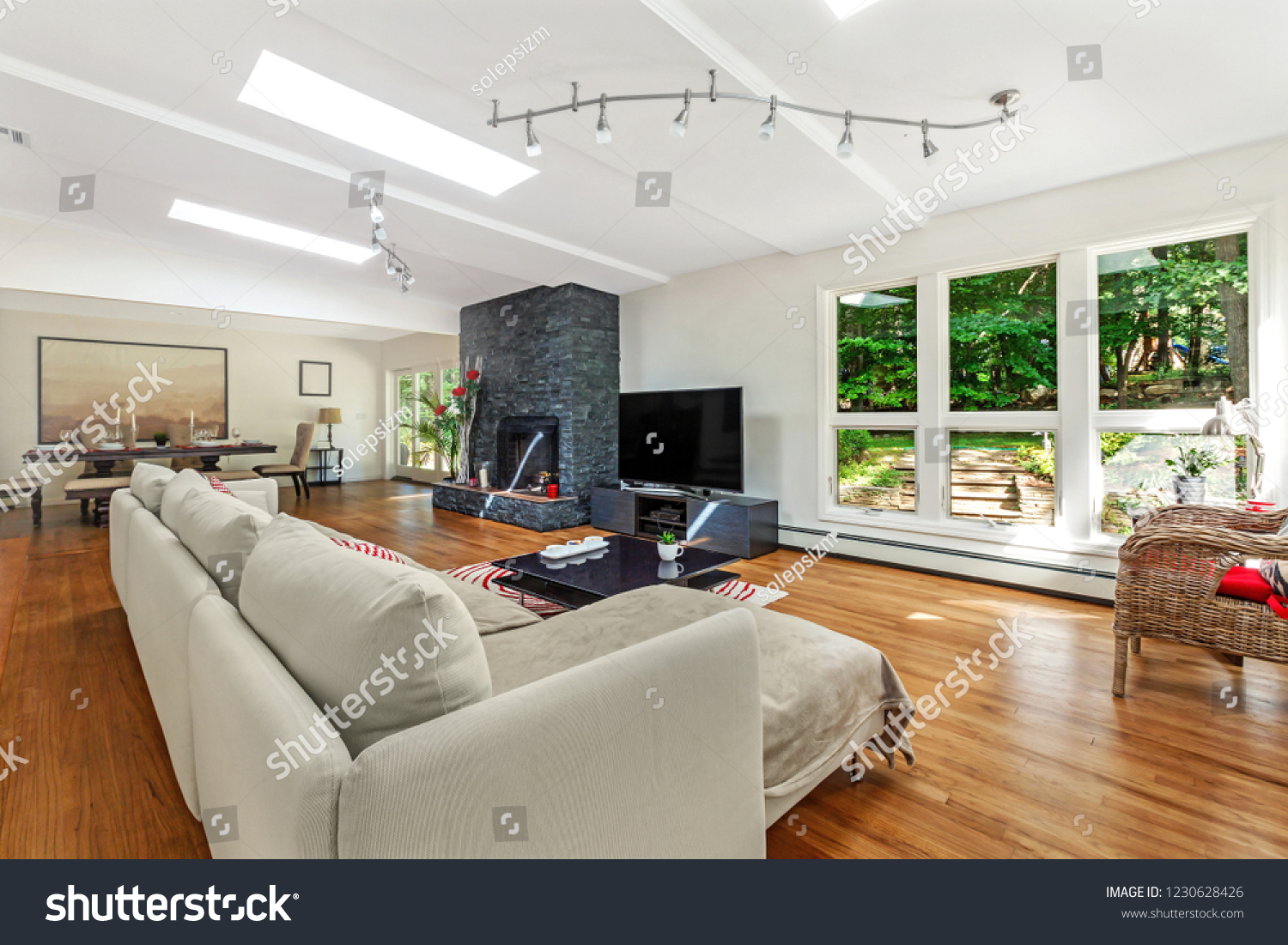 Luxury Living Room Flat Tv Fireplace Stock Photo Edit Now 1230628426