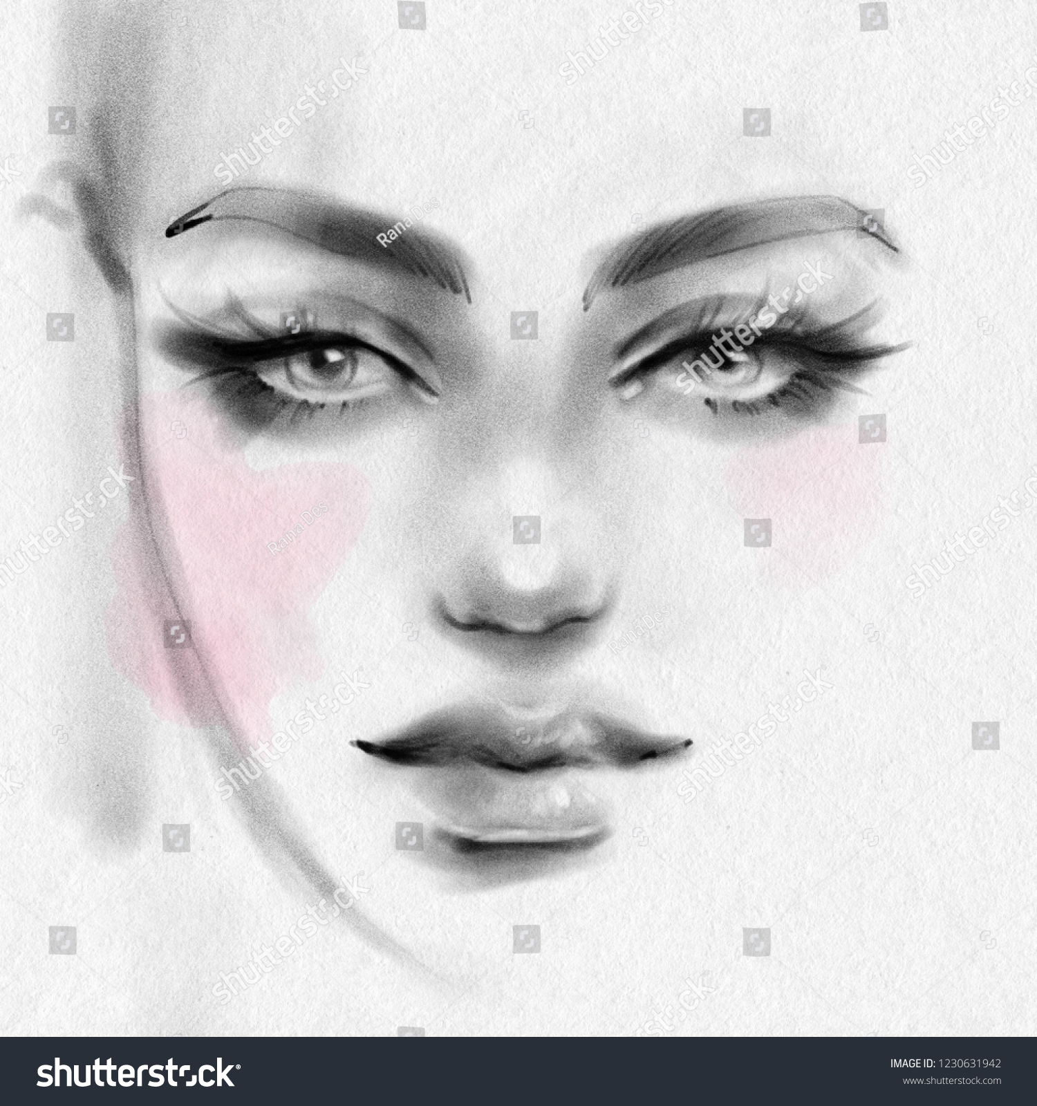 Beautiful girl face with makeup black and white fashion illustration hand drawn pencil sketch on