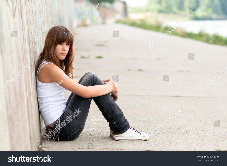 Cute Sad Teenage Girl Sitting Alone Stock Photo 123068095 -8324