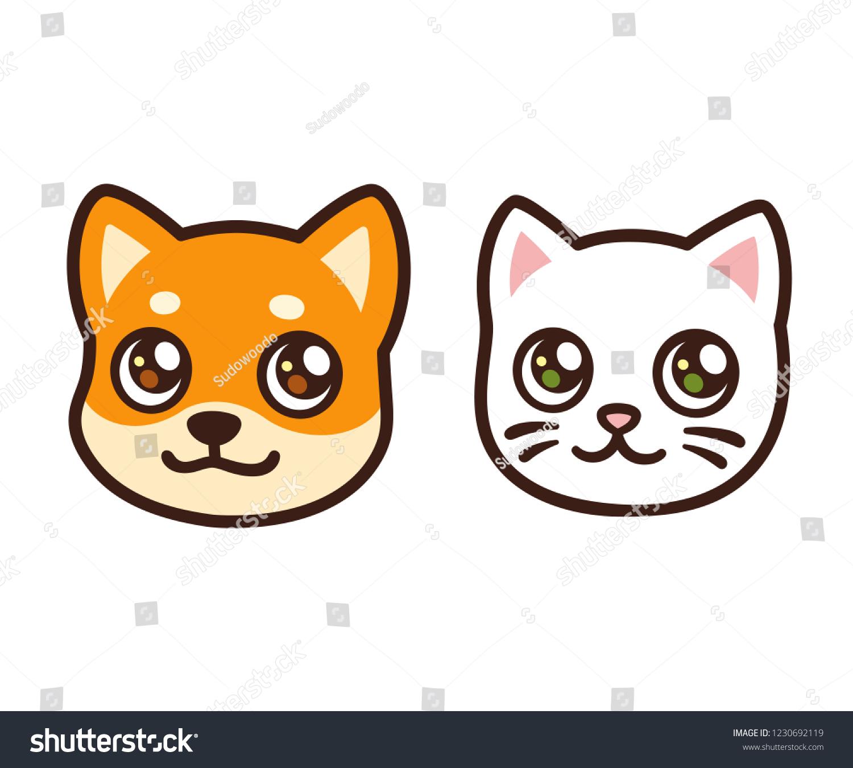 Cute Cartoon Cat Dog Face Anime Stock Vector Royalty Free 1230692119