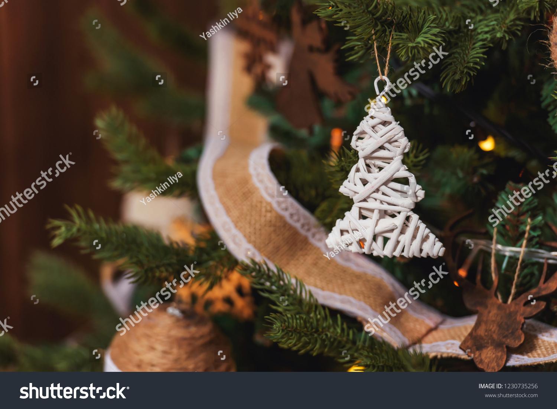 Wicker Christmas Tree On Christmas Tree Stock Photo Edit Now 1230735256