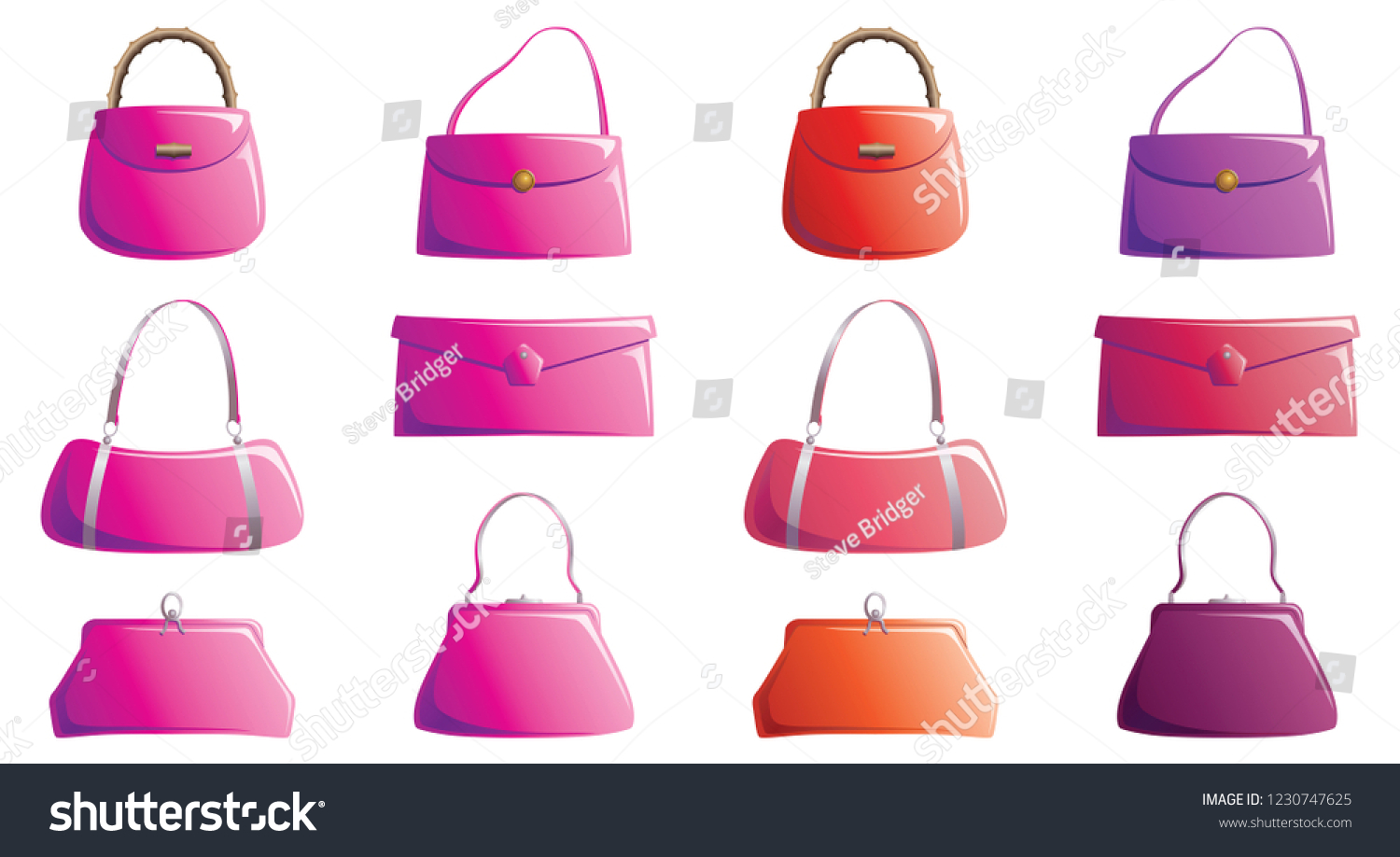 df55f106a4 Vector Illustration Handbags Different Designs Colours Stock Vector ...