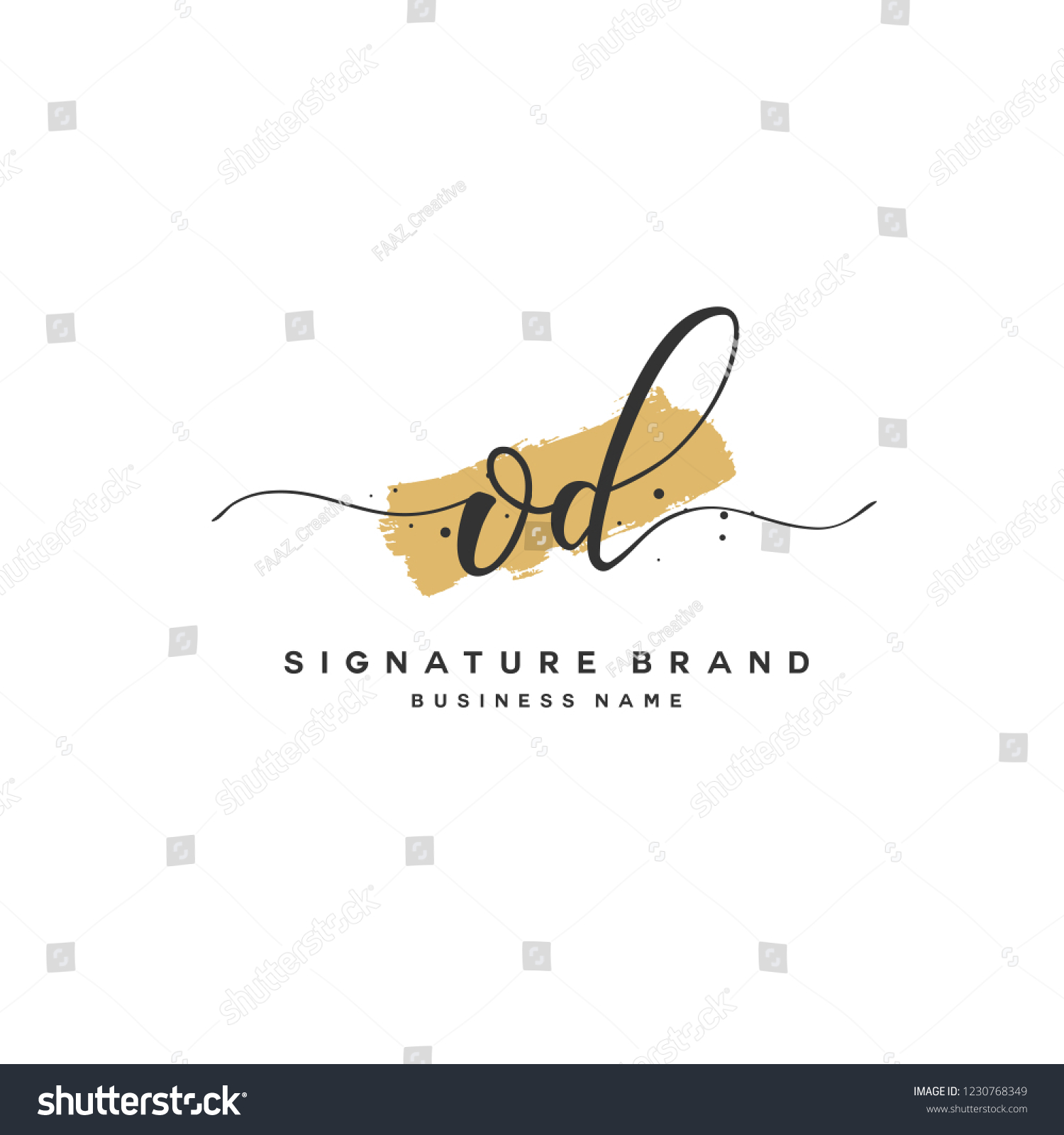 O D OD Initial Logo Template Stock Vector Royalty Free