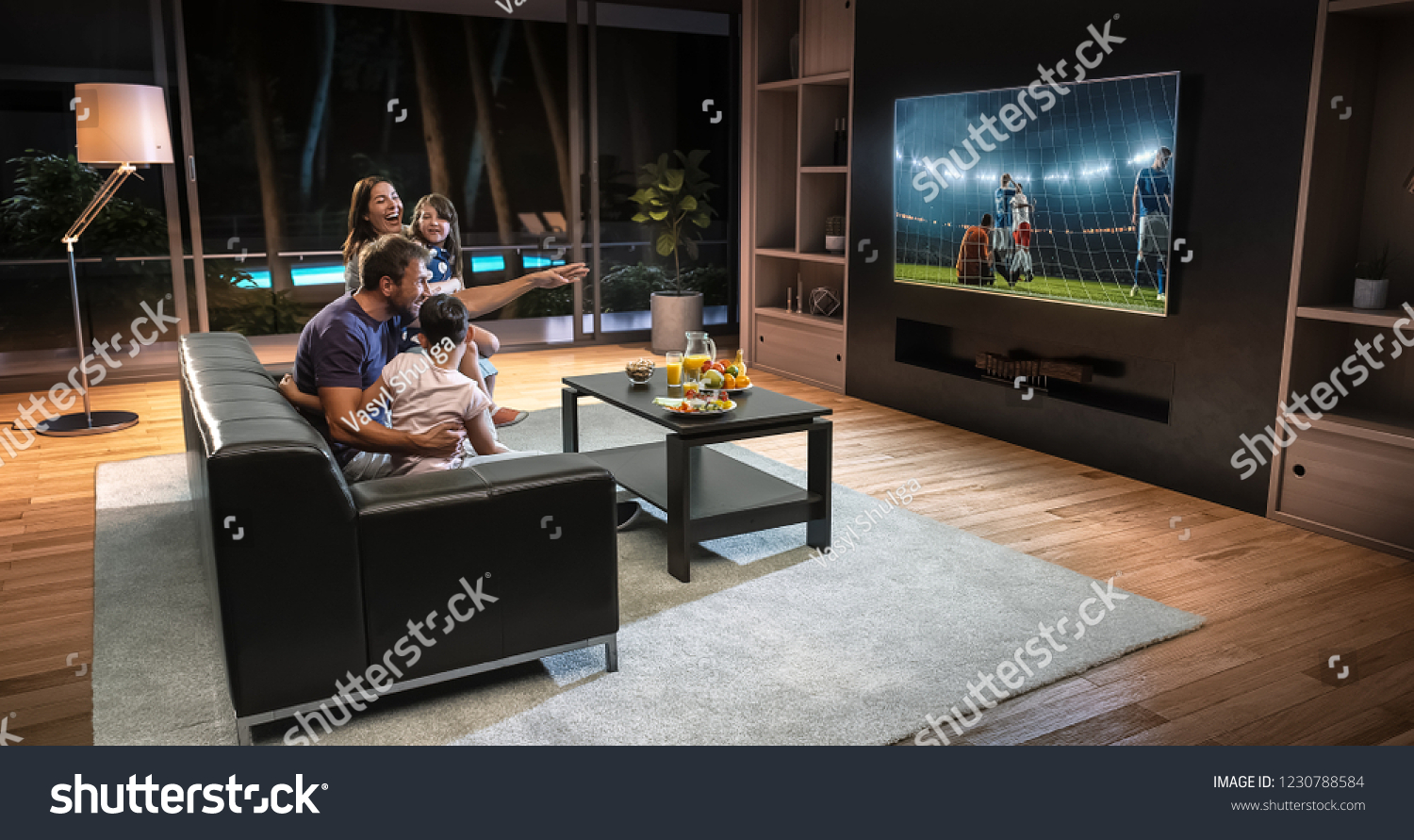 A family is watching a soccer moment on the TV and celebrating a goal, sitting on the couch in the living room. The living room is made in 3D. #1230788584