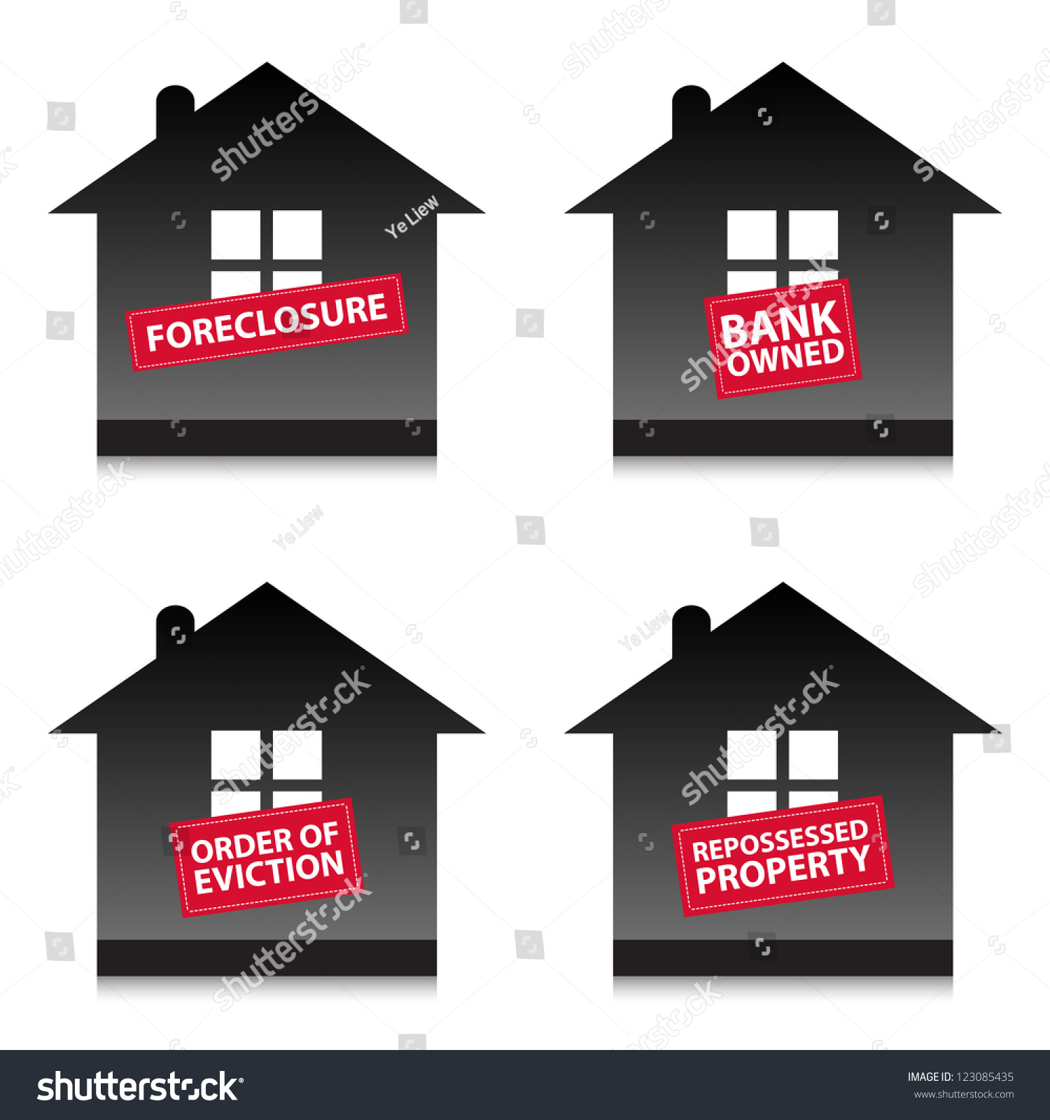 Homes Being Repossessed By The Bank Preview Save To A Lightbox Four Home  Foreclosure Labels Homes