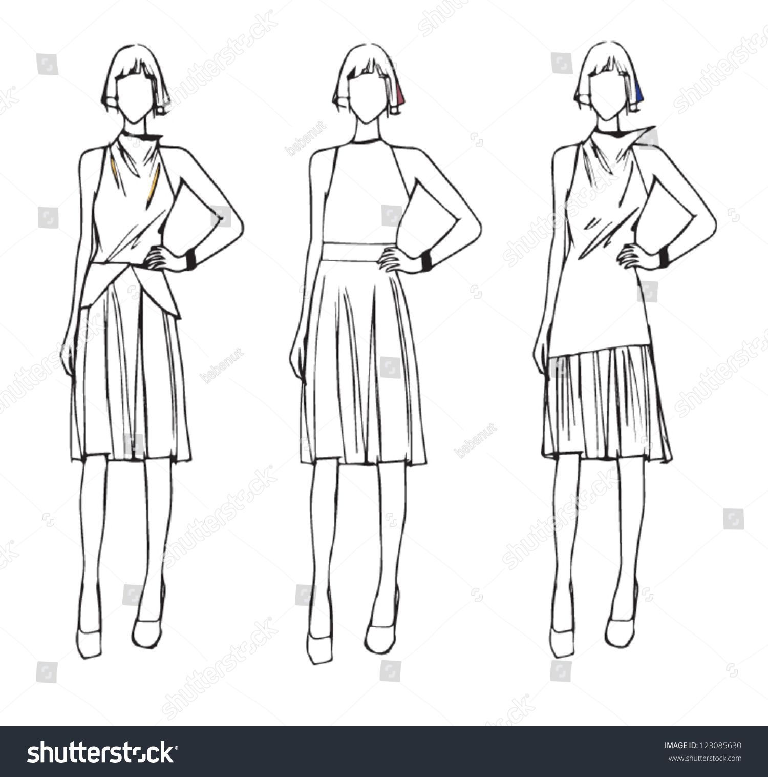 Fashion Sketch Design Elegance Style Stock Vector 123085630 Shutterstock
