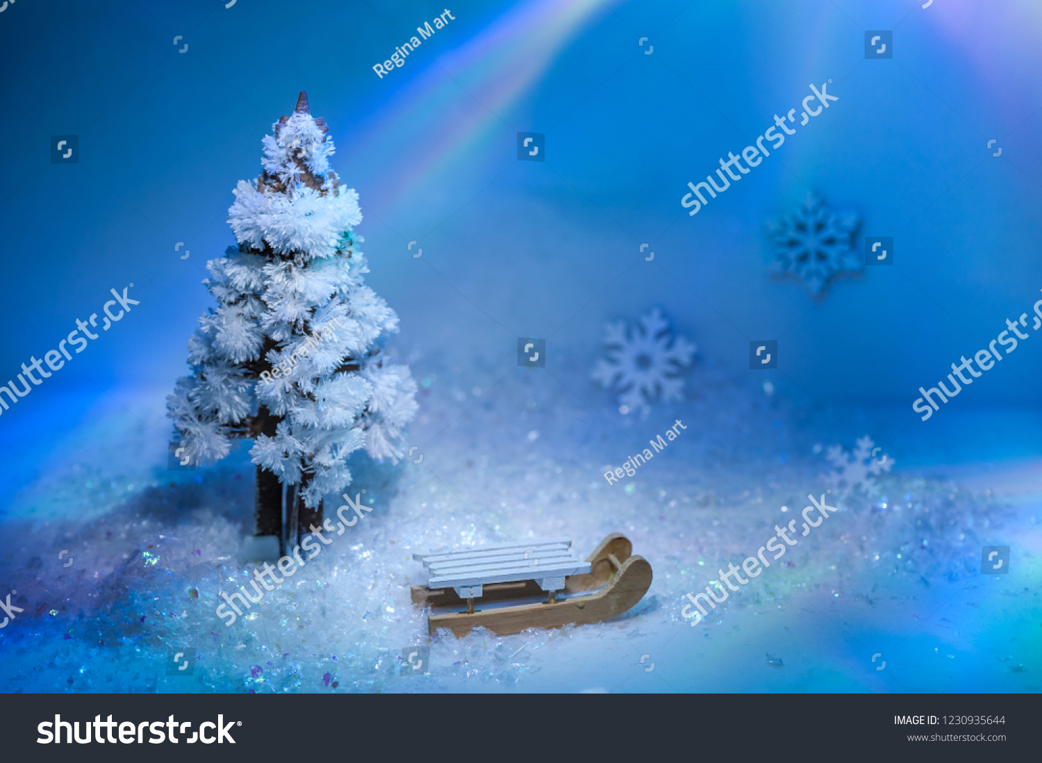 White Wooden Sleigh Under Christmas Tree Stock Photo Edit Now