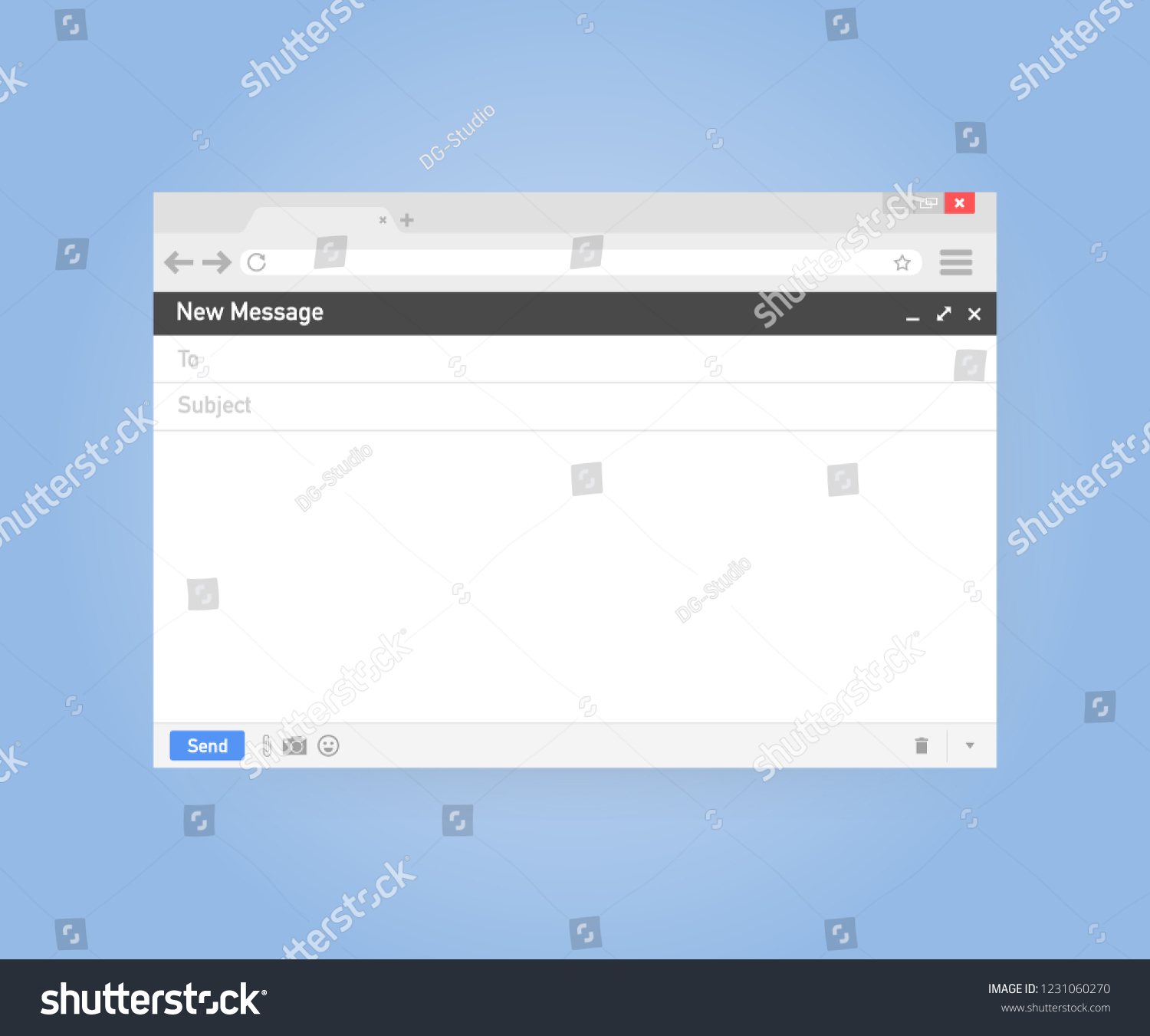 Email Template Blank Email Browser Window Stock Vector Royalty Free