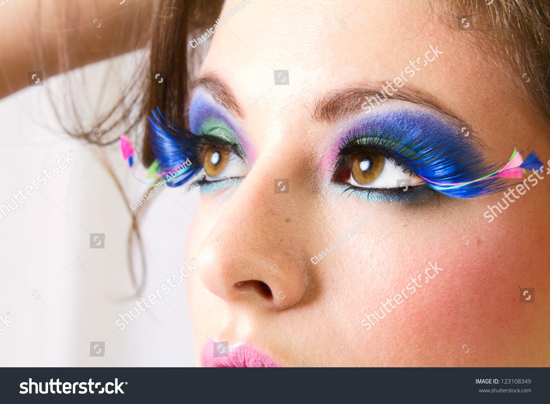 Close Up Of Beautiful Woman Applying Mascara On Eyelashes Ez Canvas