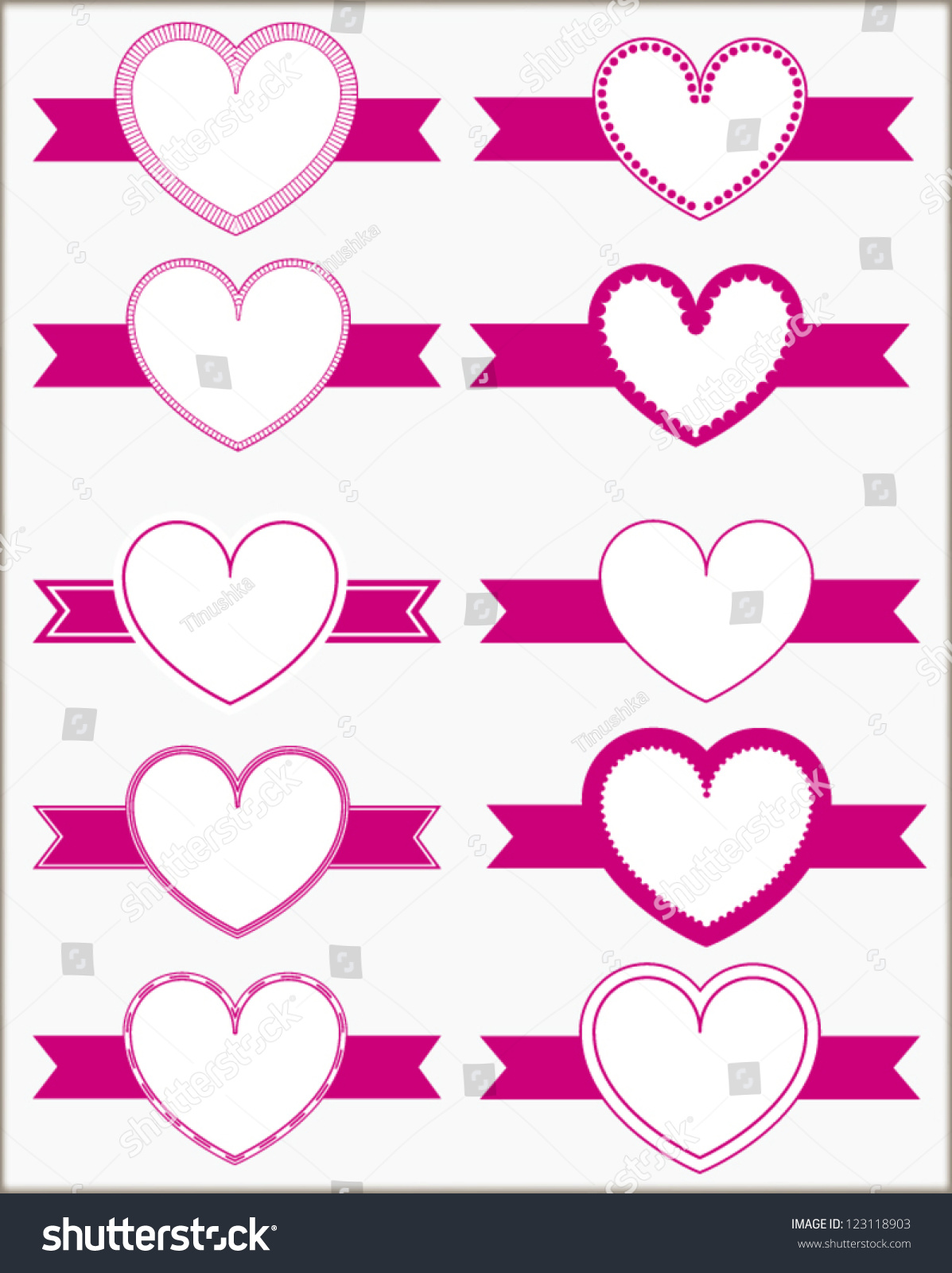 Collection Of Heart Shaped Design Elements - Labels With Ribbon ...