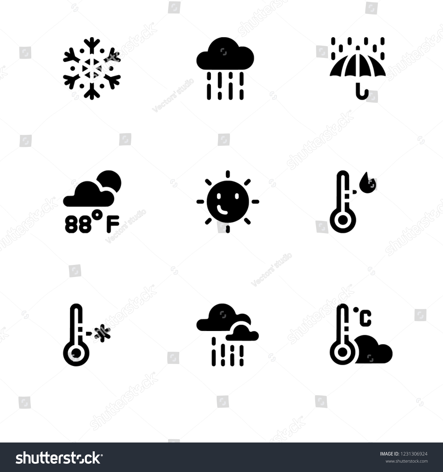 9dff5eb1bc Weather Forecast Seasons Lineal Basic Rounded Stock Vector (Royalty ...
