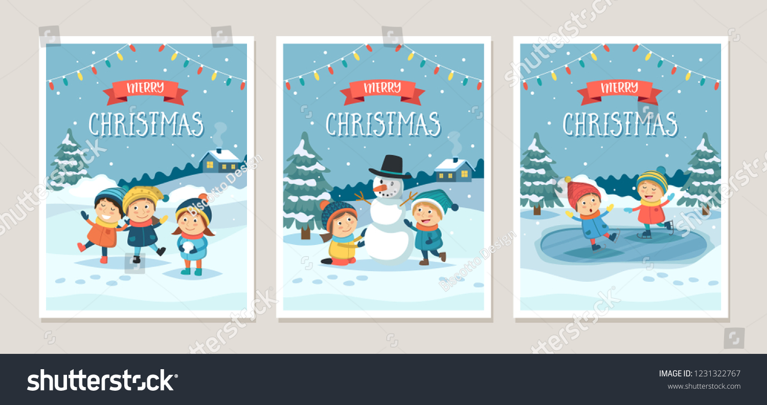 Set Christmas Greeting Cards Children Playing Stock Vector Royalty