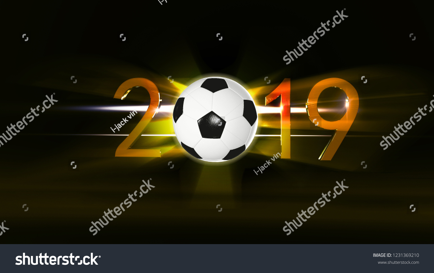 Happy New Year 2019 Backgroundsoccer Concept Stock Illustration