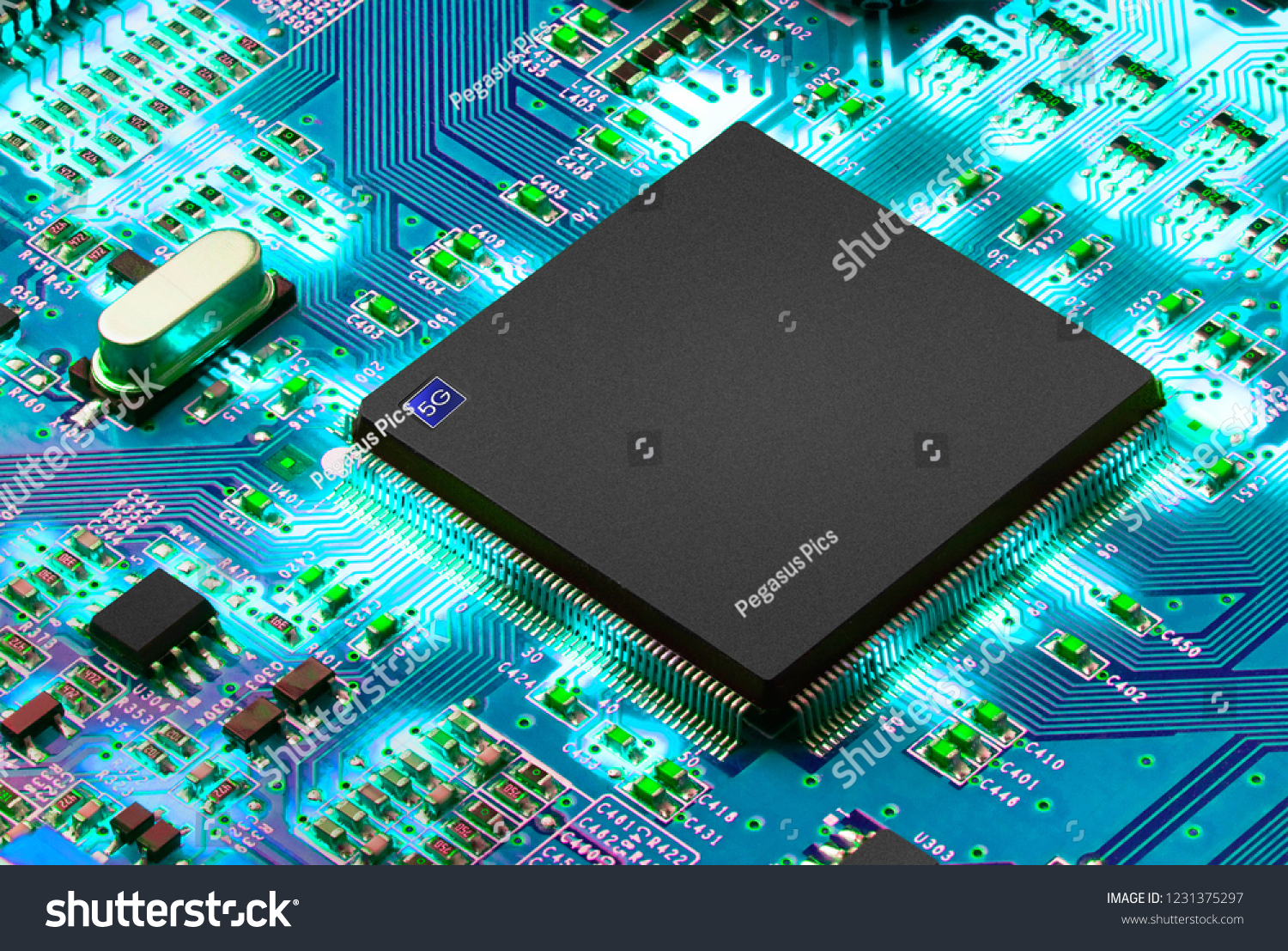 5 G Mobile Chip On Computer Board Stock Photo Edit Now 1231375297 Circuit Of A Cell Phone Royalty Free Image 5g Background Space For Text