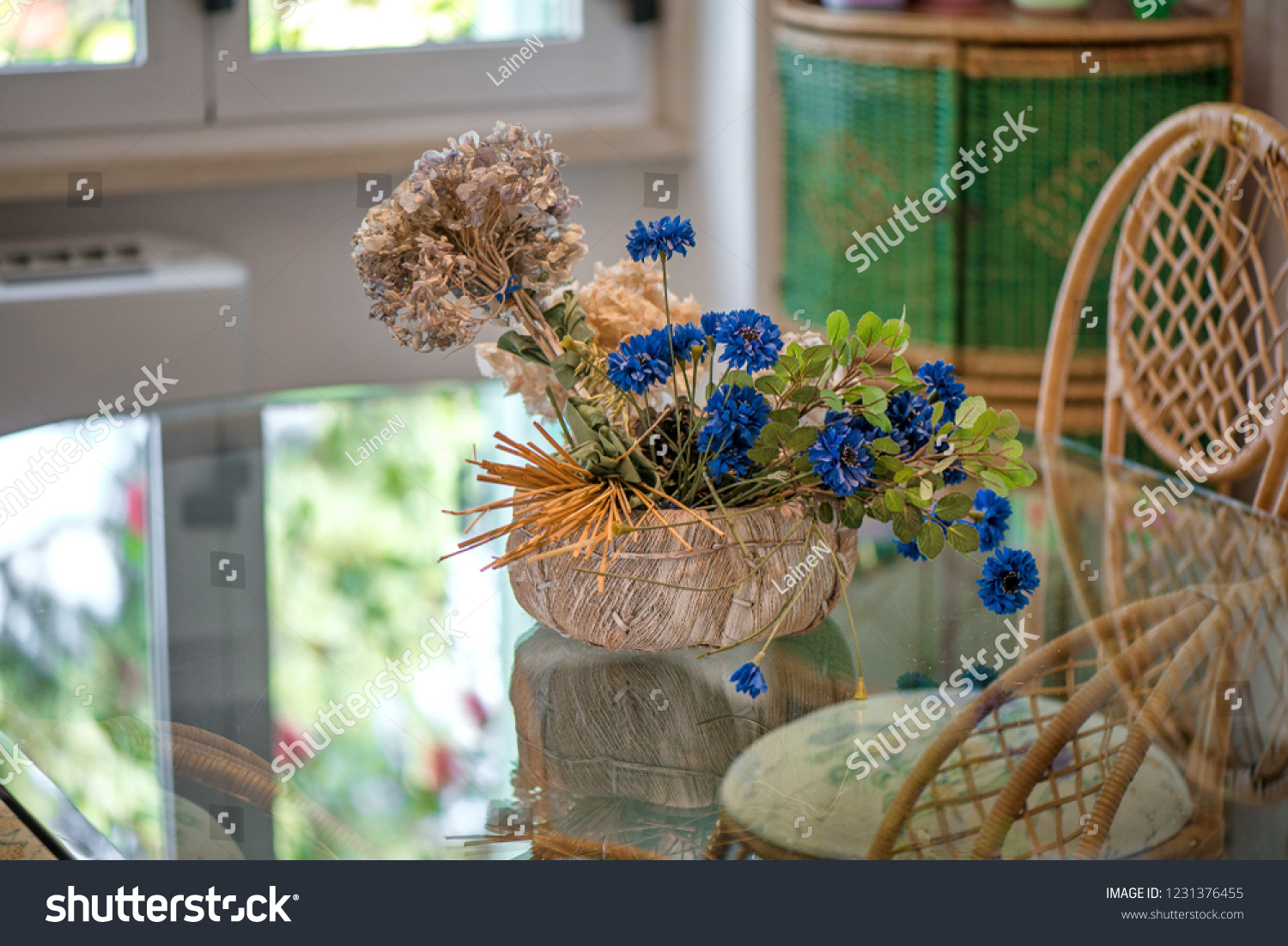 Dining Room Big Glass Table Decorations Stock Photo Edit Now 1231376455