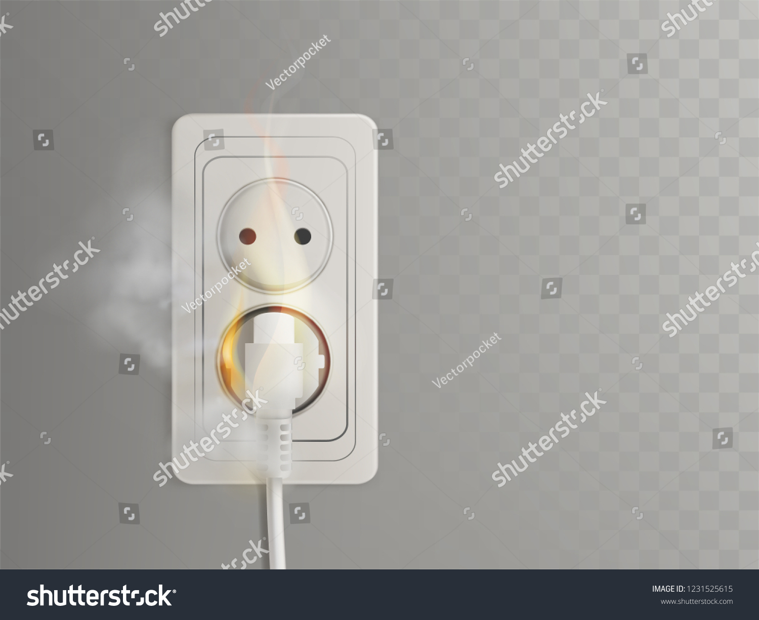 Short Circuit Electrical Outlet 3 D Realistic Stock Vector Royalty Home Wiring Wall Plate In 3d With Flaming Power Plug Socket Illustration Isolated