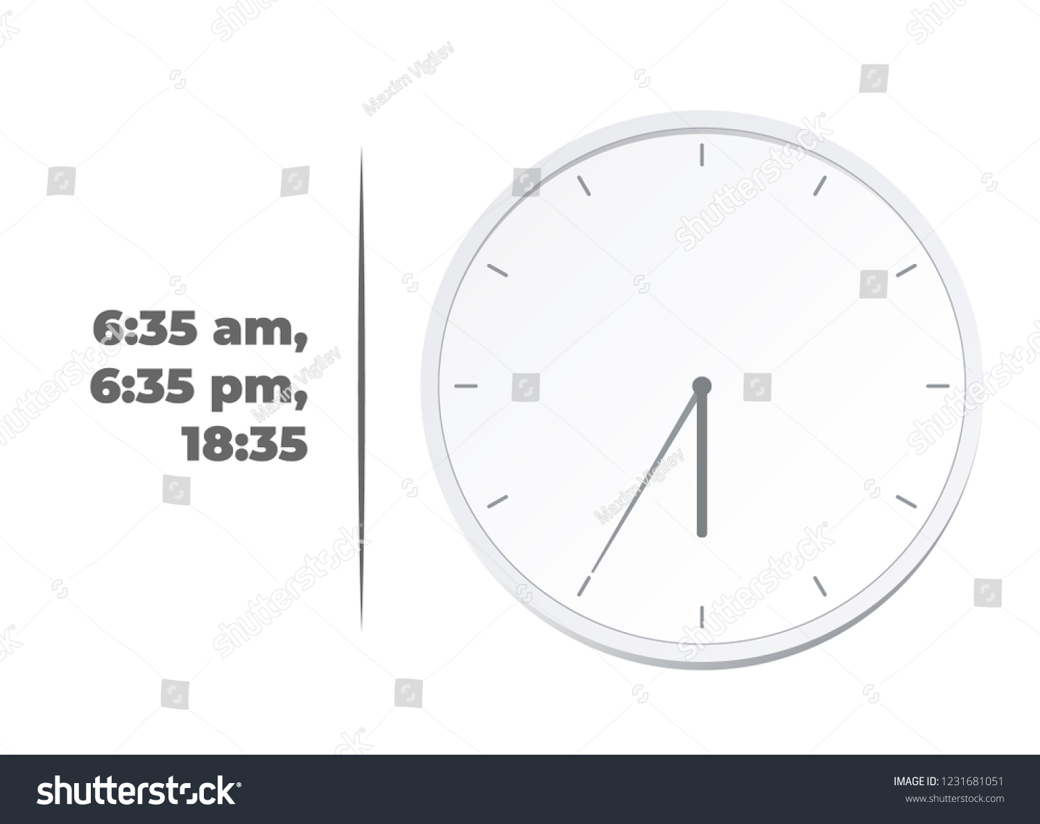 Vector Illustration Europe American Time Analog Stock Vector Royalty Free 1231681051