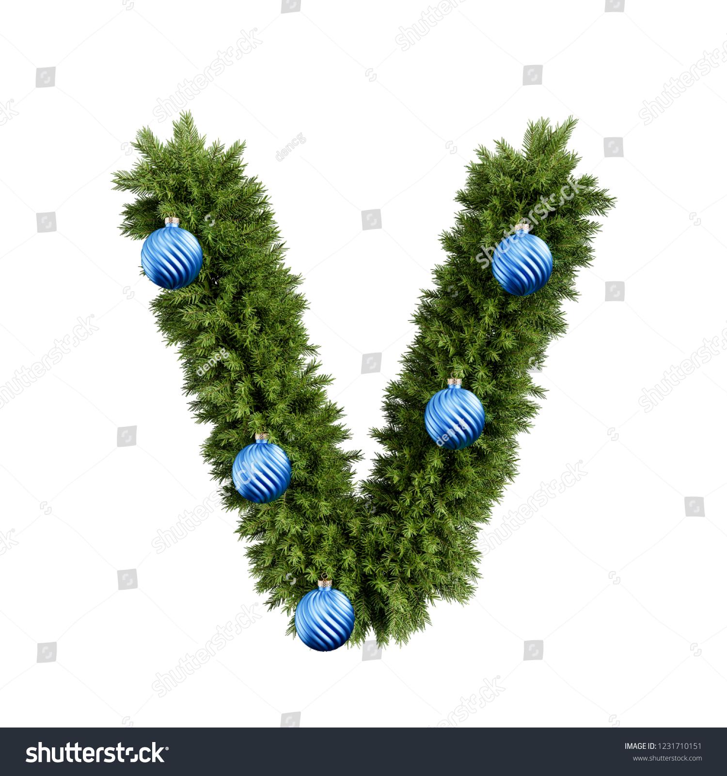 Christmas Alphabet Abc Character Letter V Stock Illustration