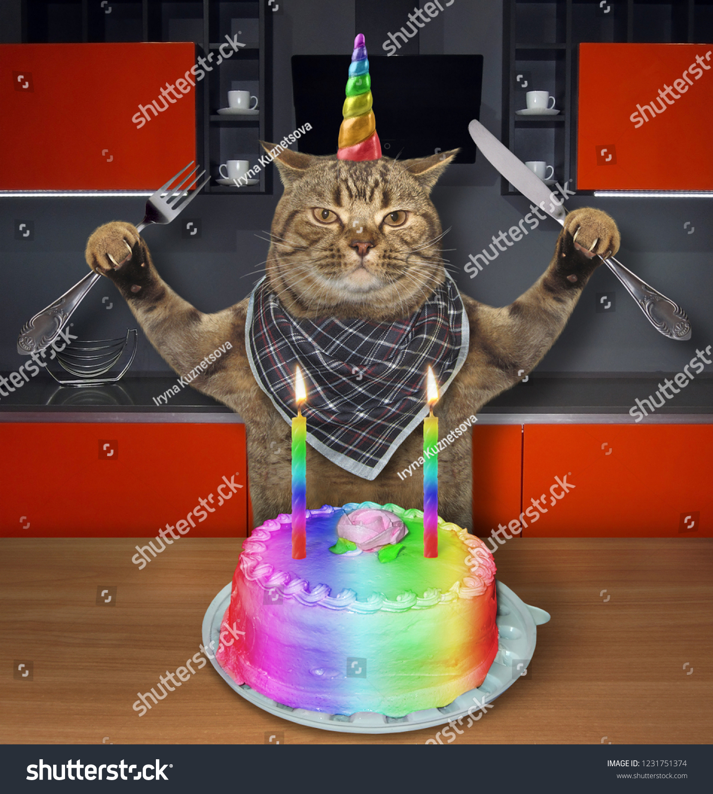 The Cat Unicorn With A Knife And Fork Is Going To Eat Birthday Cake