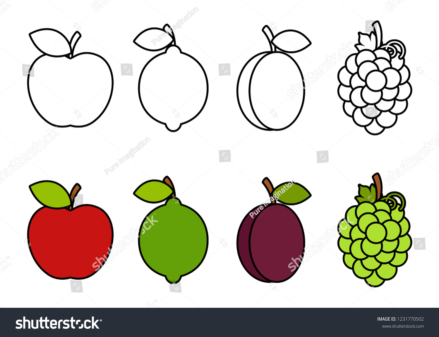 - Coloring Book Fruits Coloring Kids Stock Vector (Royalty Free