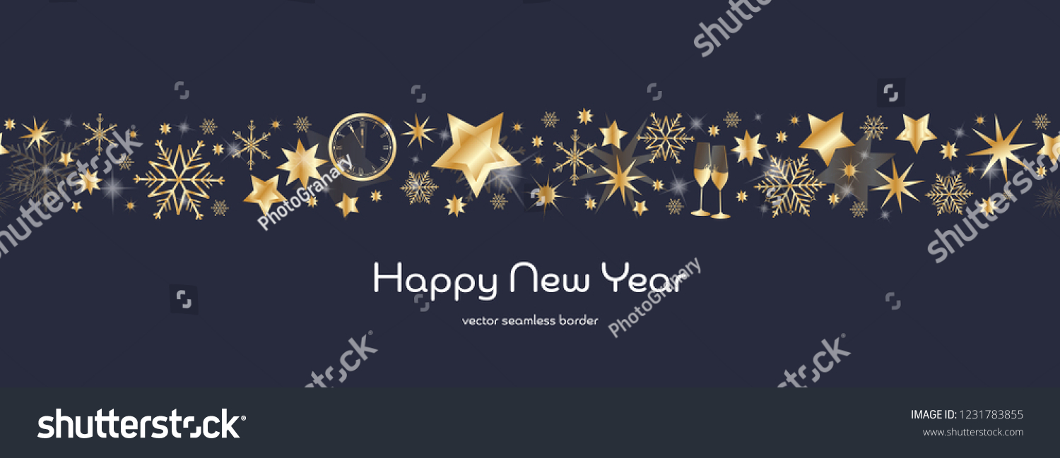 happy new year dark blue and golden snowflake and star seamless border with glasses of