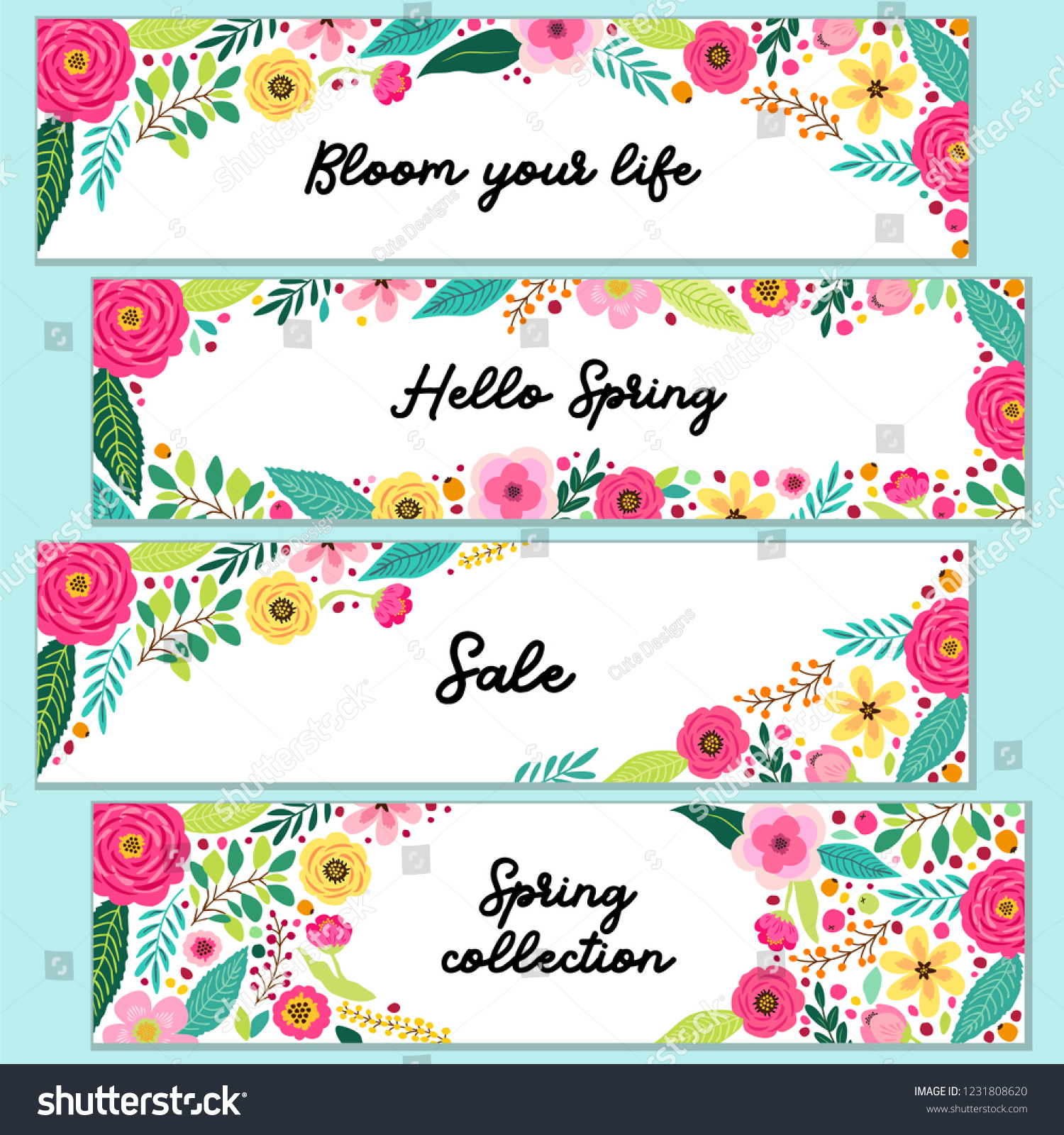 Cute Set Spring Flowers Horizontal Banners Stock Vector Royalty