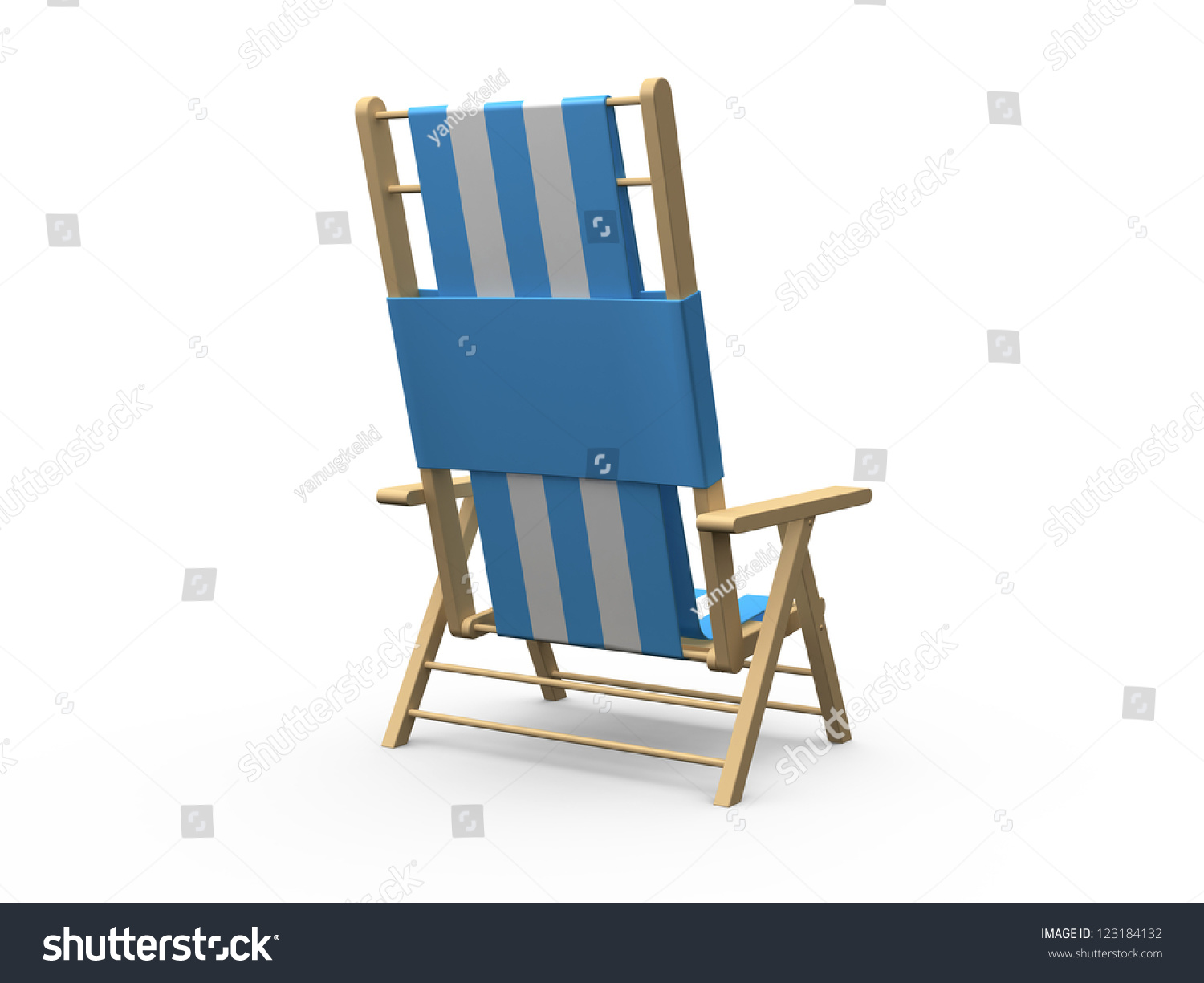Beach chair back - Blue And White Wooden Beach Chair Back View Isolated On White Background