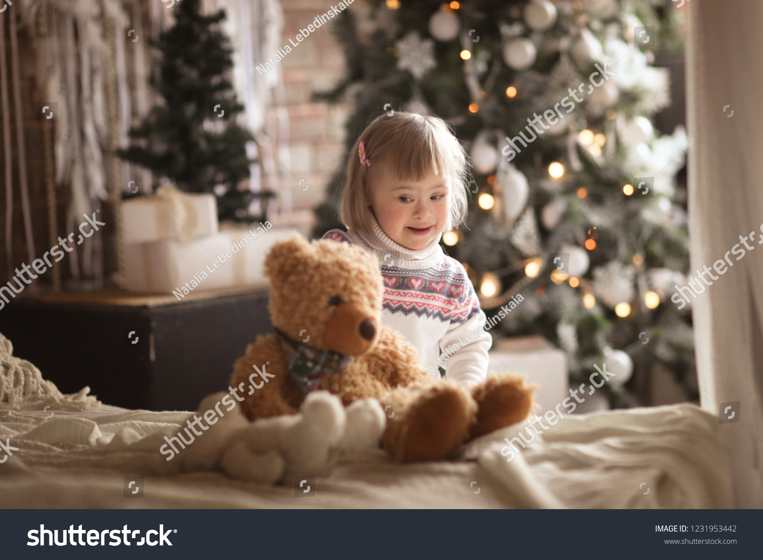 Toddler Girl Down Syndrome Plays Toy Stock Photo (Edit Now ...