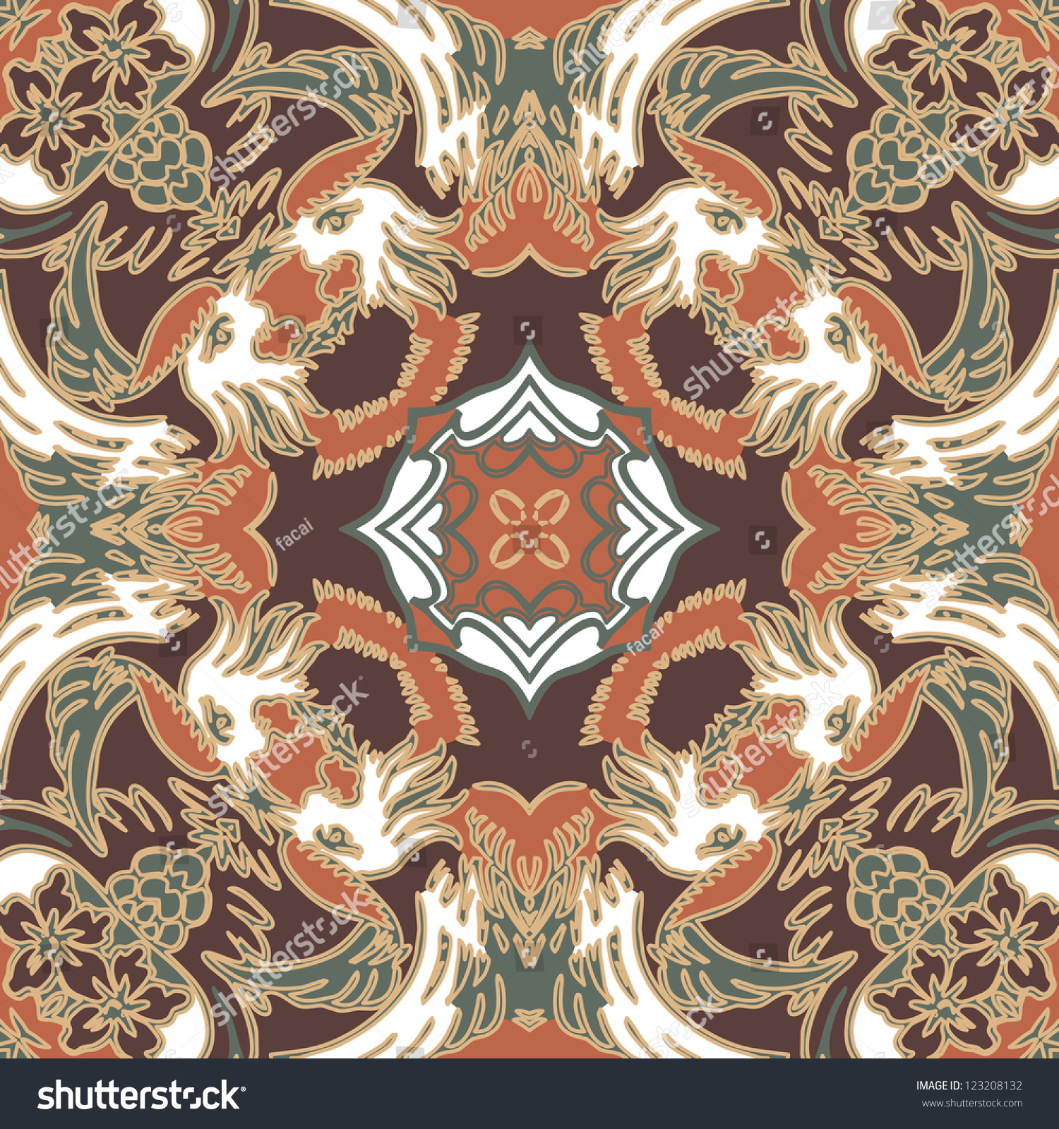 Vector Seamless Traditional Floral Pattern Wallpaper Stock Vector