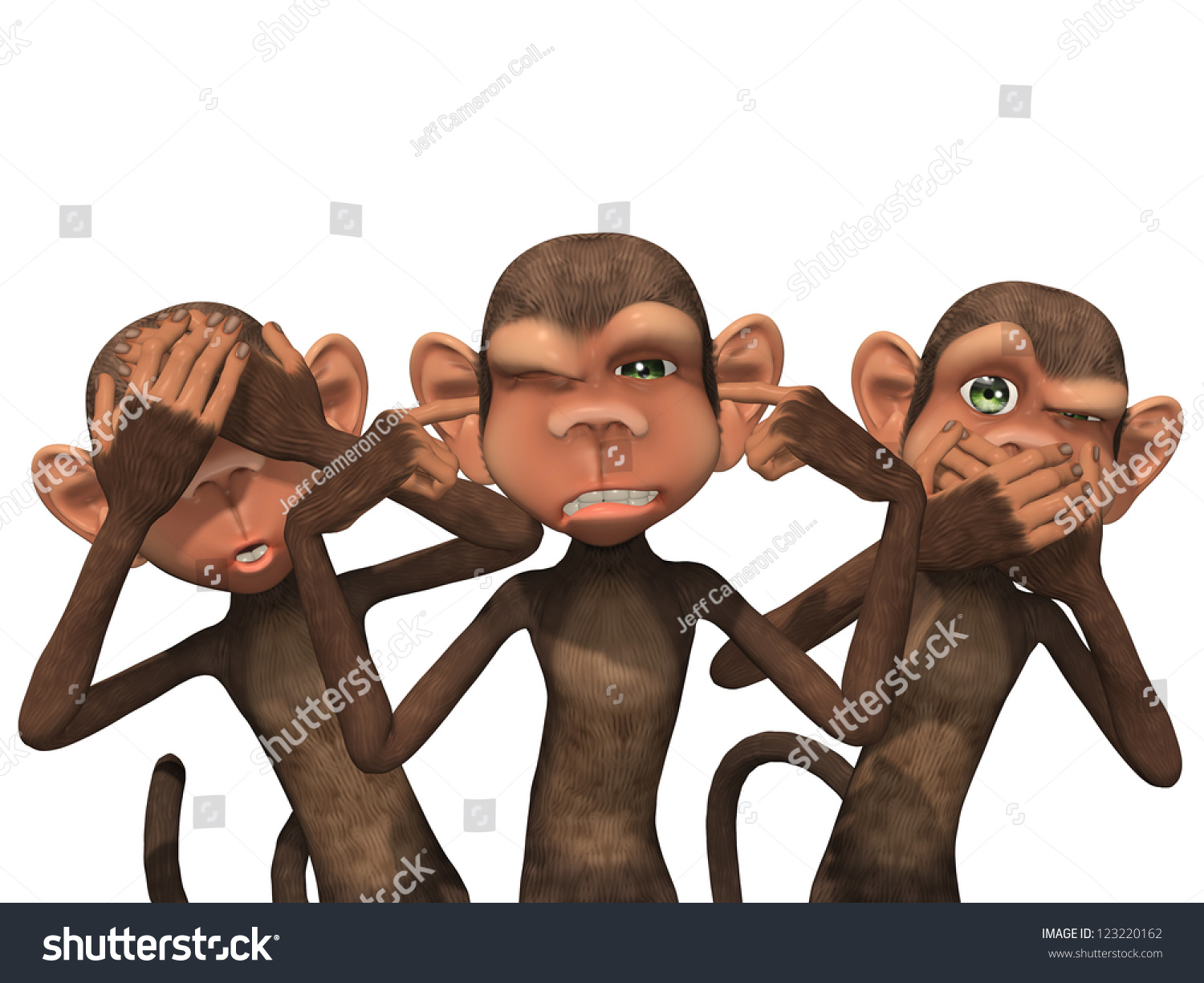 Three Wise Monkeys See No Evil Stock Illustration 123220162 ...