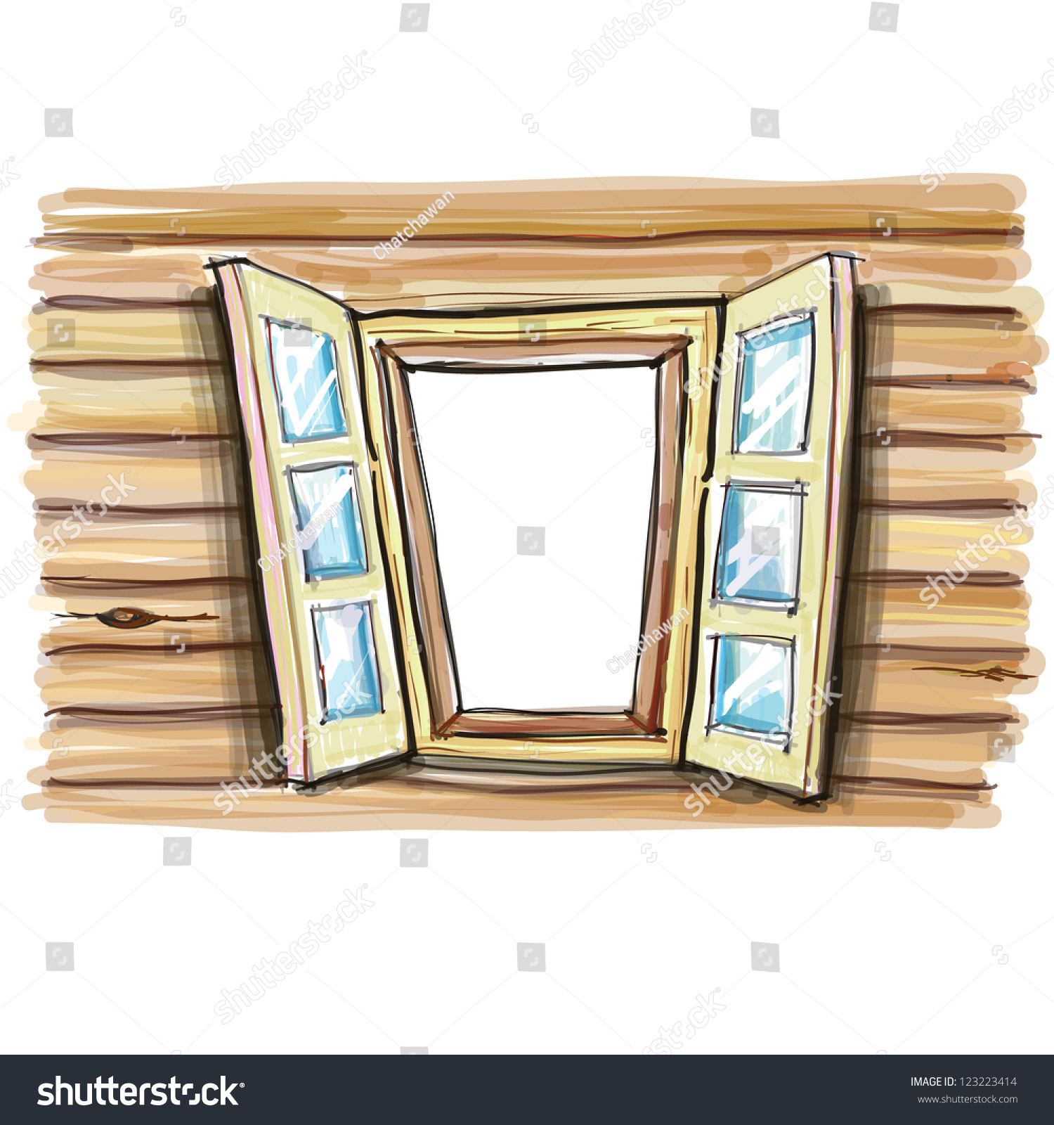 Cartoon wooden windows open vector 123223414 shutterstock for Window design cartoon