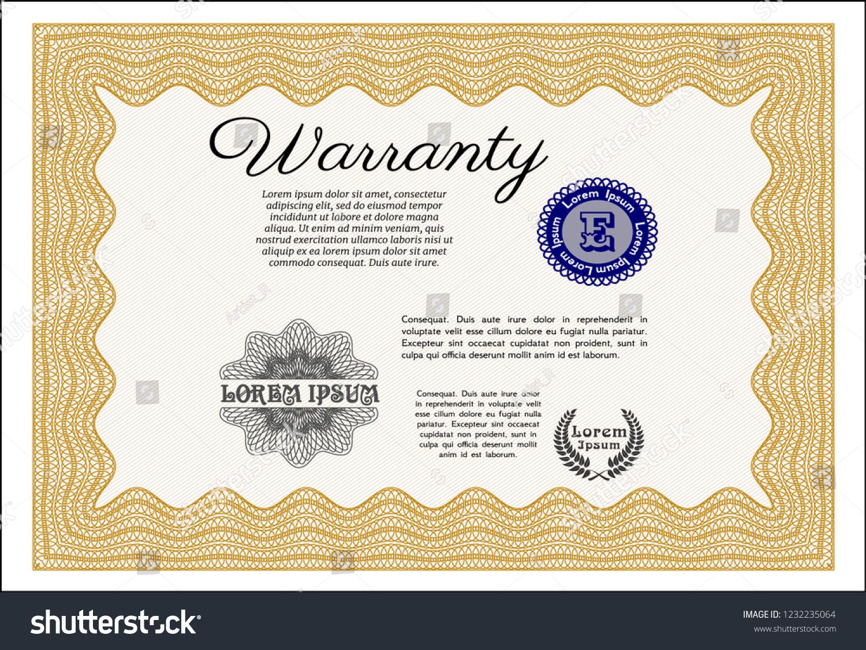 Orange Vintage Warranty Certificate Template Lovely Stock Vector