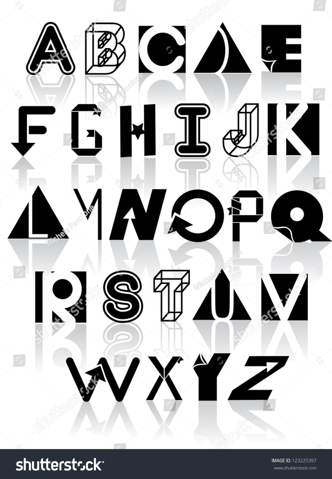 Variety black white icons symbols alphabet stock vector 123225397 variety of black and white icons symbols alphabet a through z biocorpaavc Image collections