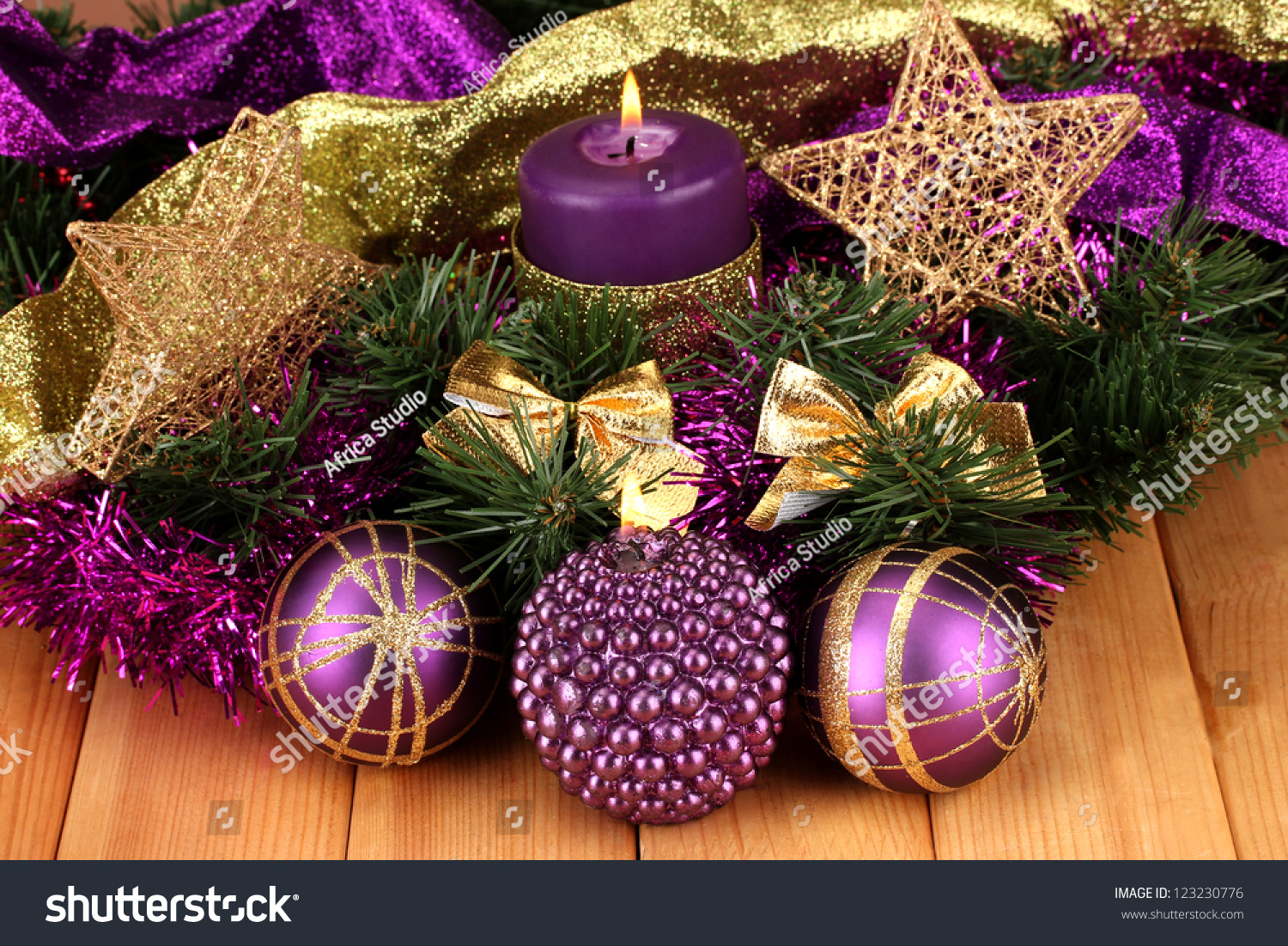 christmas composition with candles and decorations in purple and gold colors on wooden background ez canvas - Purple And Gold Christmas Tree Decorations
