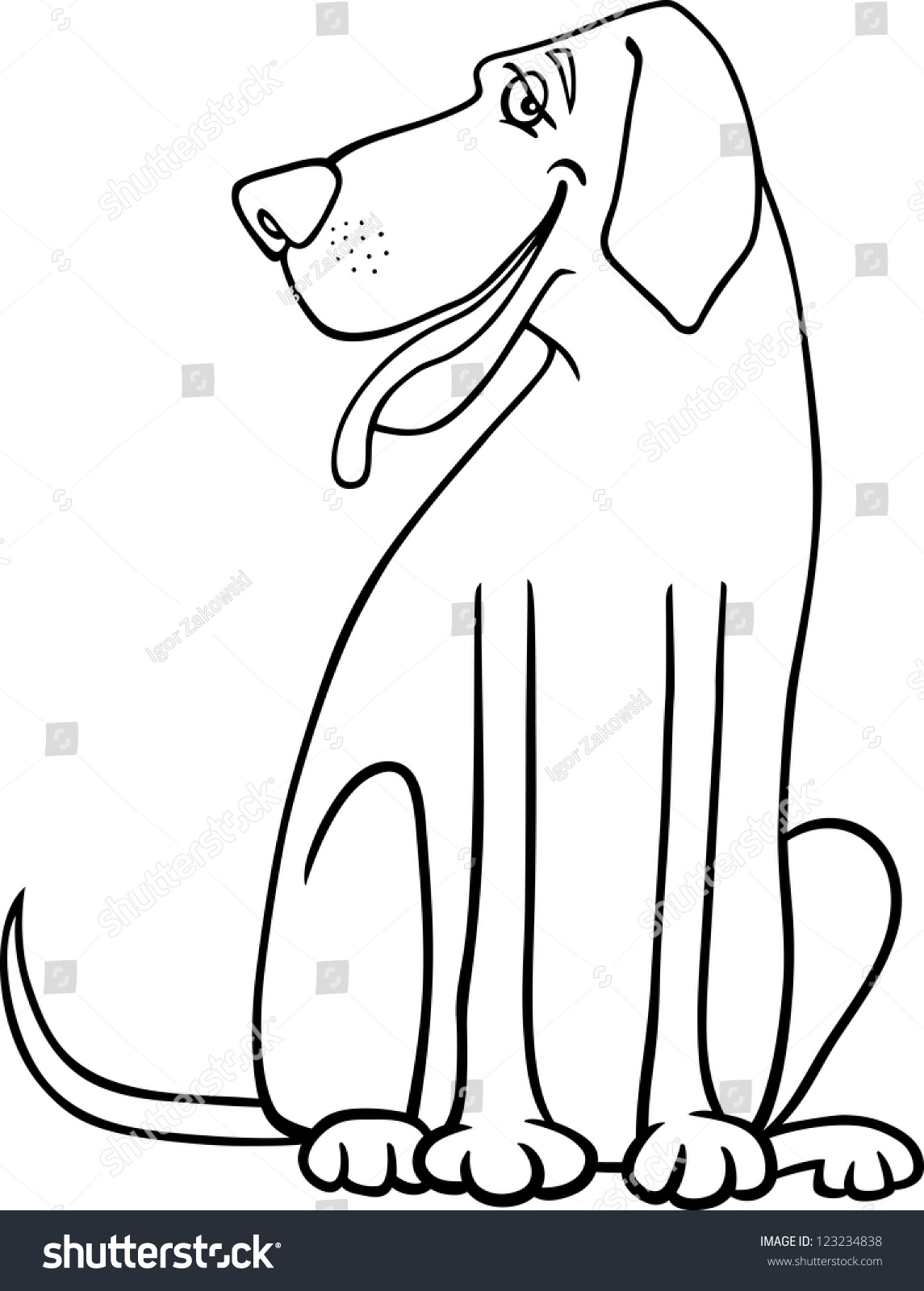 great dane dog for coloring book or coloring page preview save to a lightbox