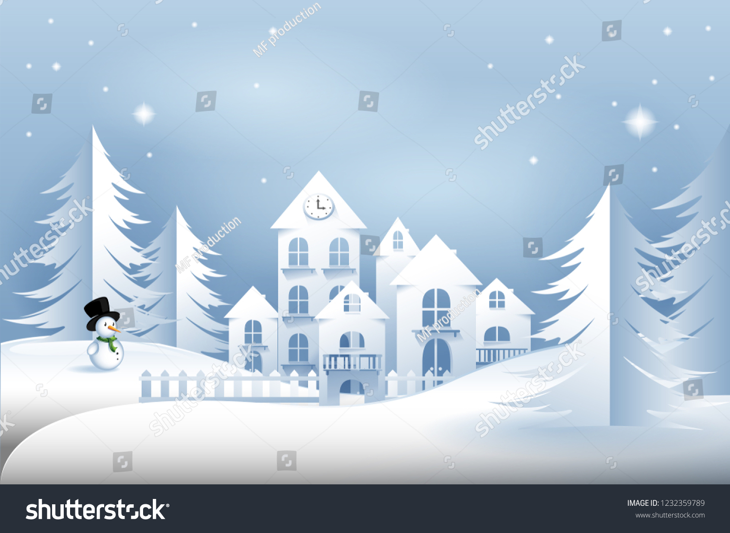 Winter Landscape Vector Background Paper Cut Stock Vector (Royalty ...