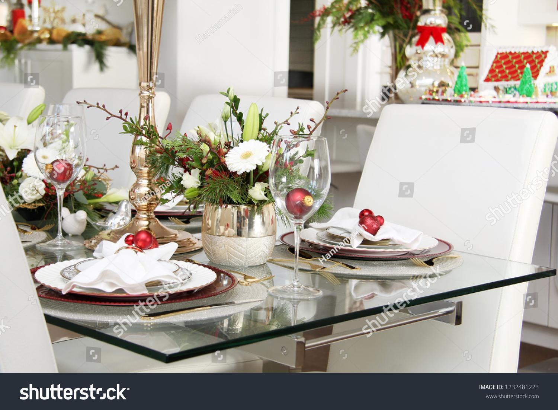 Dining Room Table Set Floral Arrangements Holidays Stock Image 1232481223