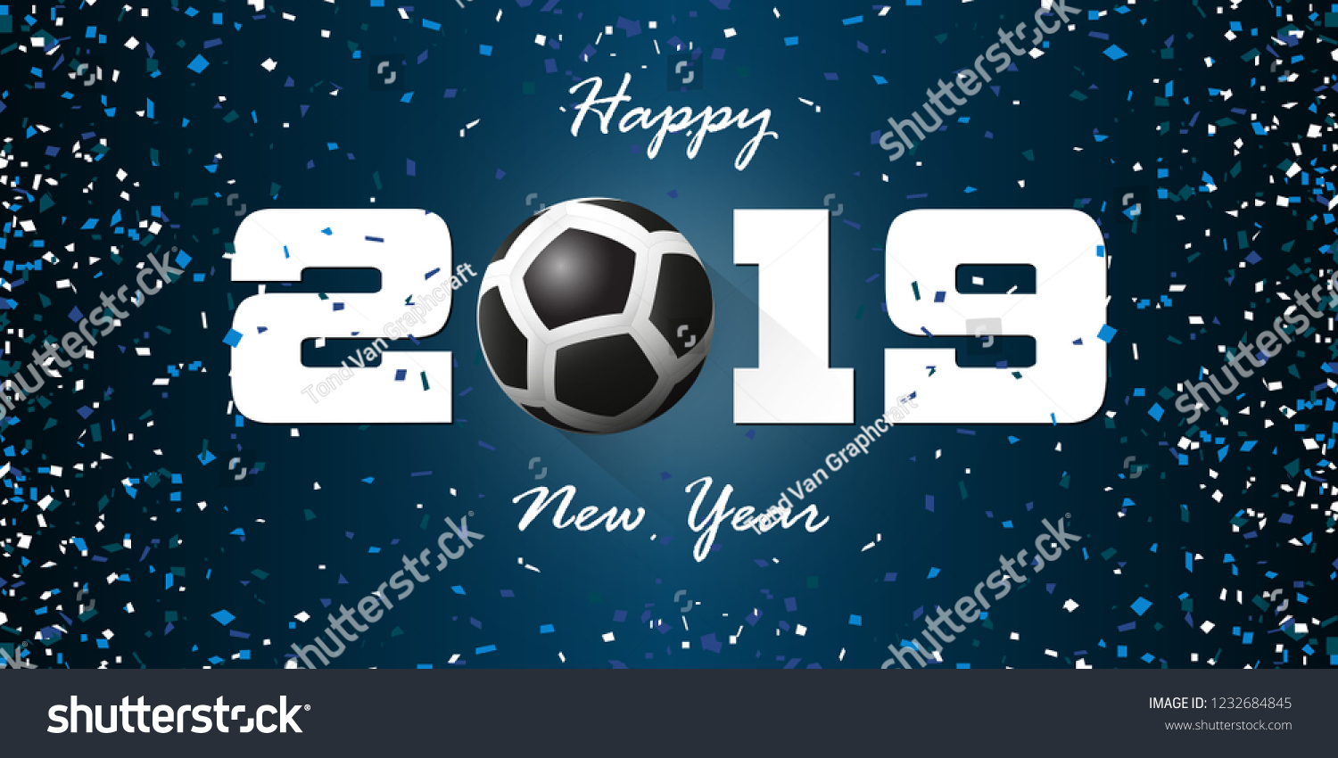 happy new year 2019 banner with paper confetti on blue background banner design template for