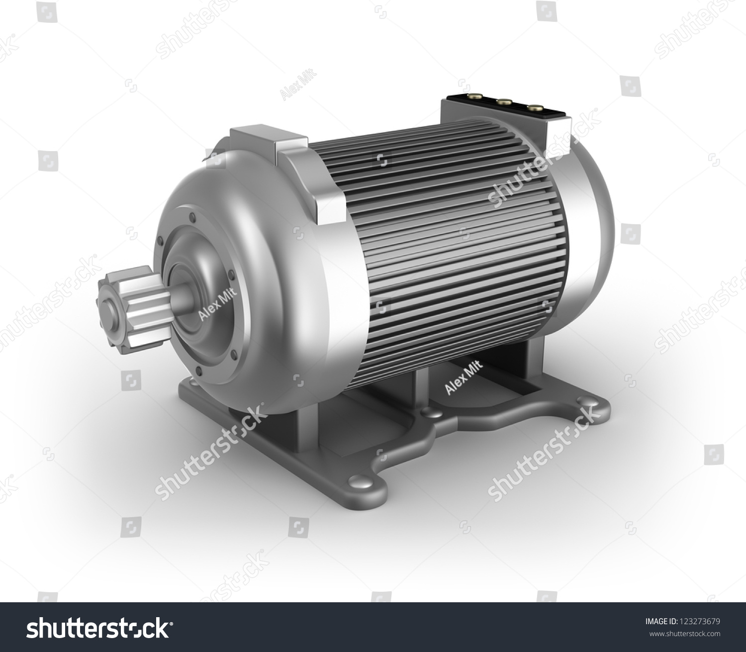 Electric Motor 3d Image Isolated Stock Illustration