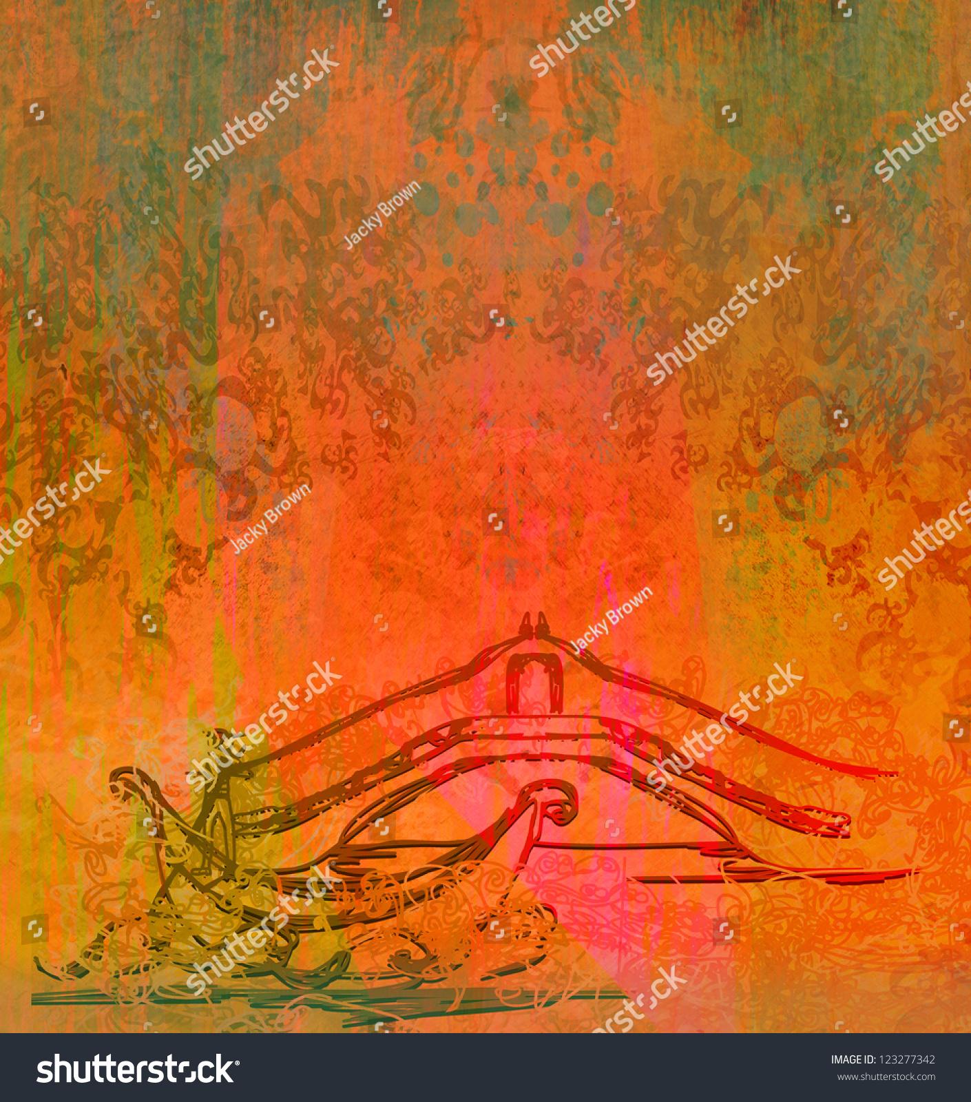 Venetian Gondola Retro Style Card Stock Illustration 123277342 ...