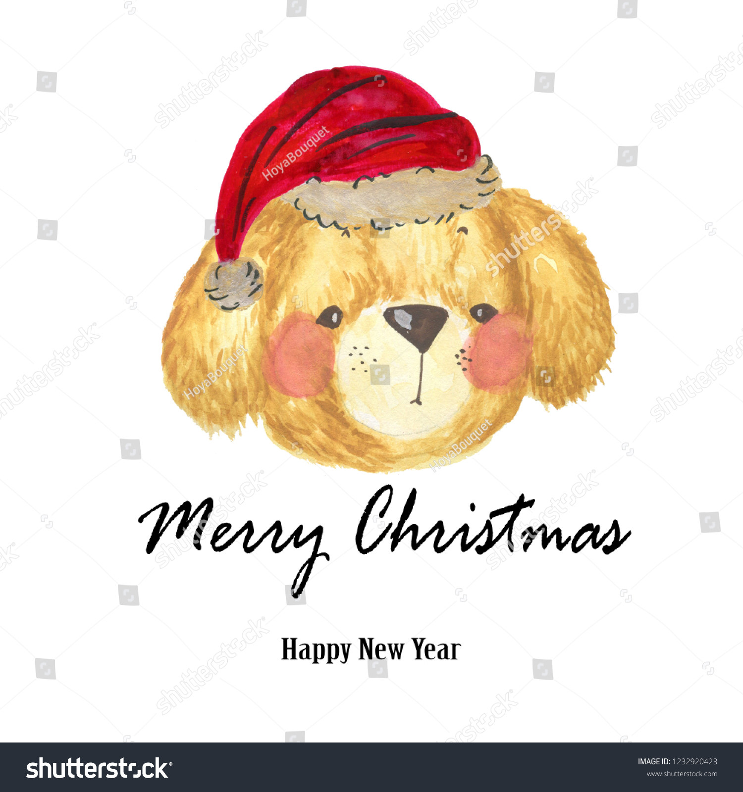 737aaf9881e9a Watercolor Santa Claus red hat dog Hand painted christmas illustration  isolated on white background for design