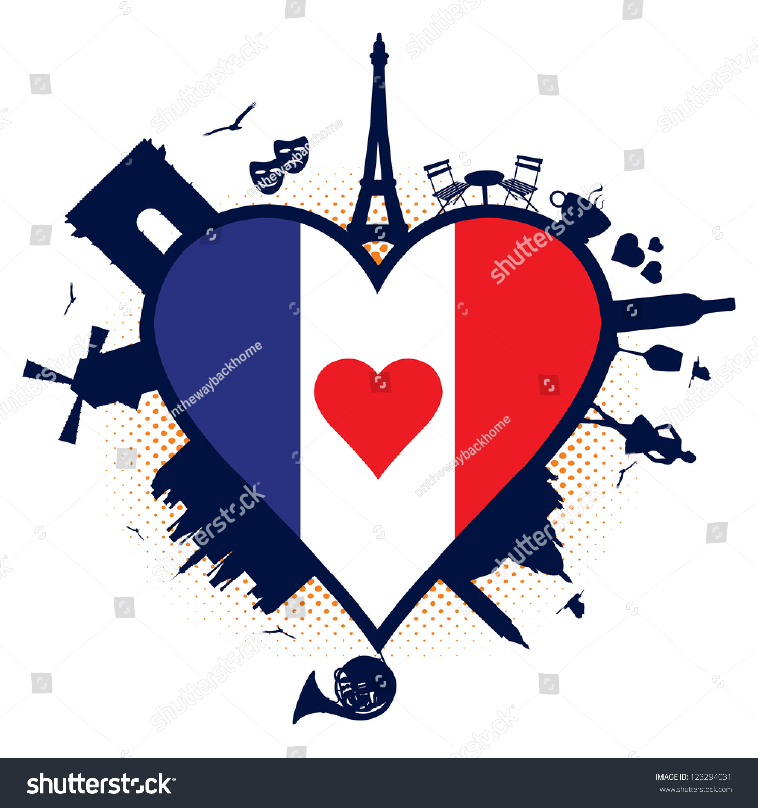 France Heart Shaped Flag Silhouettes Stock Vector (Royalty Free ...