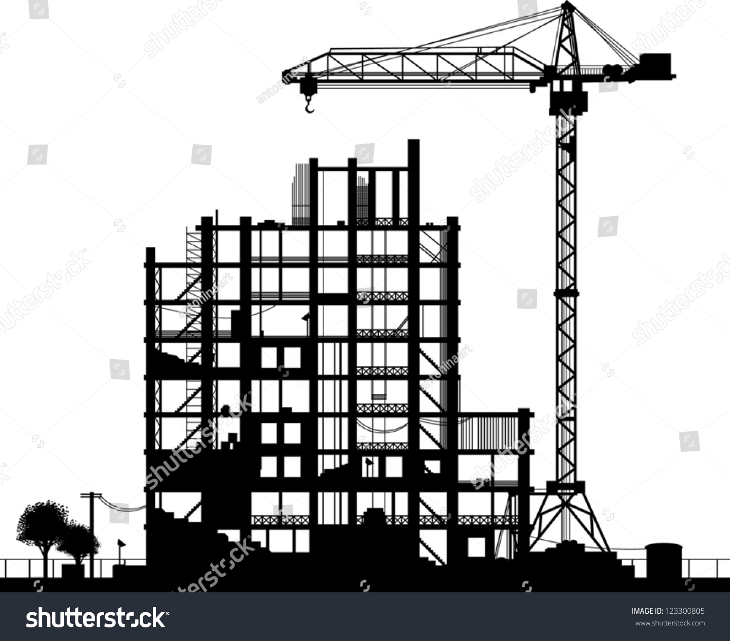 Construction Site Silhouette On White Background Stock ...
