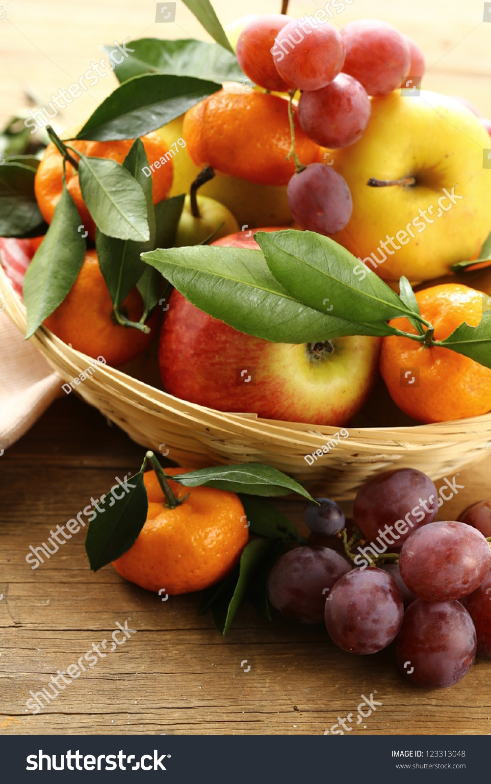 Various Autumn Fruits (Pears, Apples, Mandarin And Grapes) Stock Photo ...