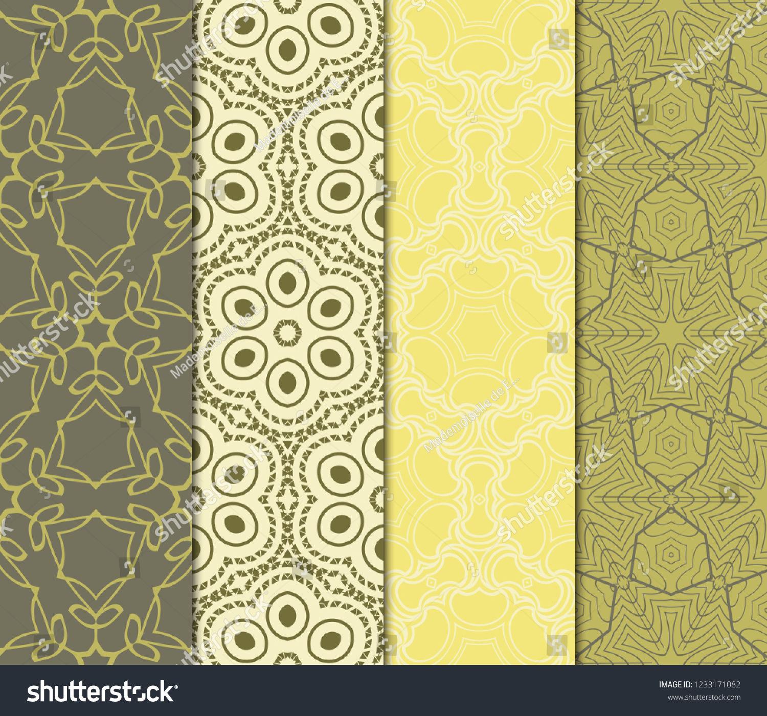 Set Modern Floral Seamless Pattern Decorative Royalty Free Stock