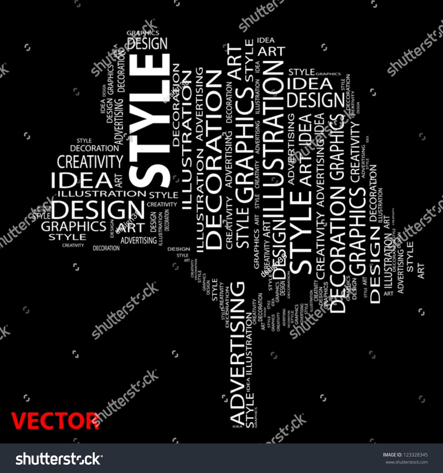 Vector Conceptual White Tree Made Text Stock Vector 123328345 ...